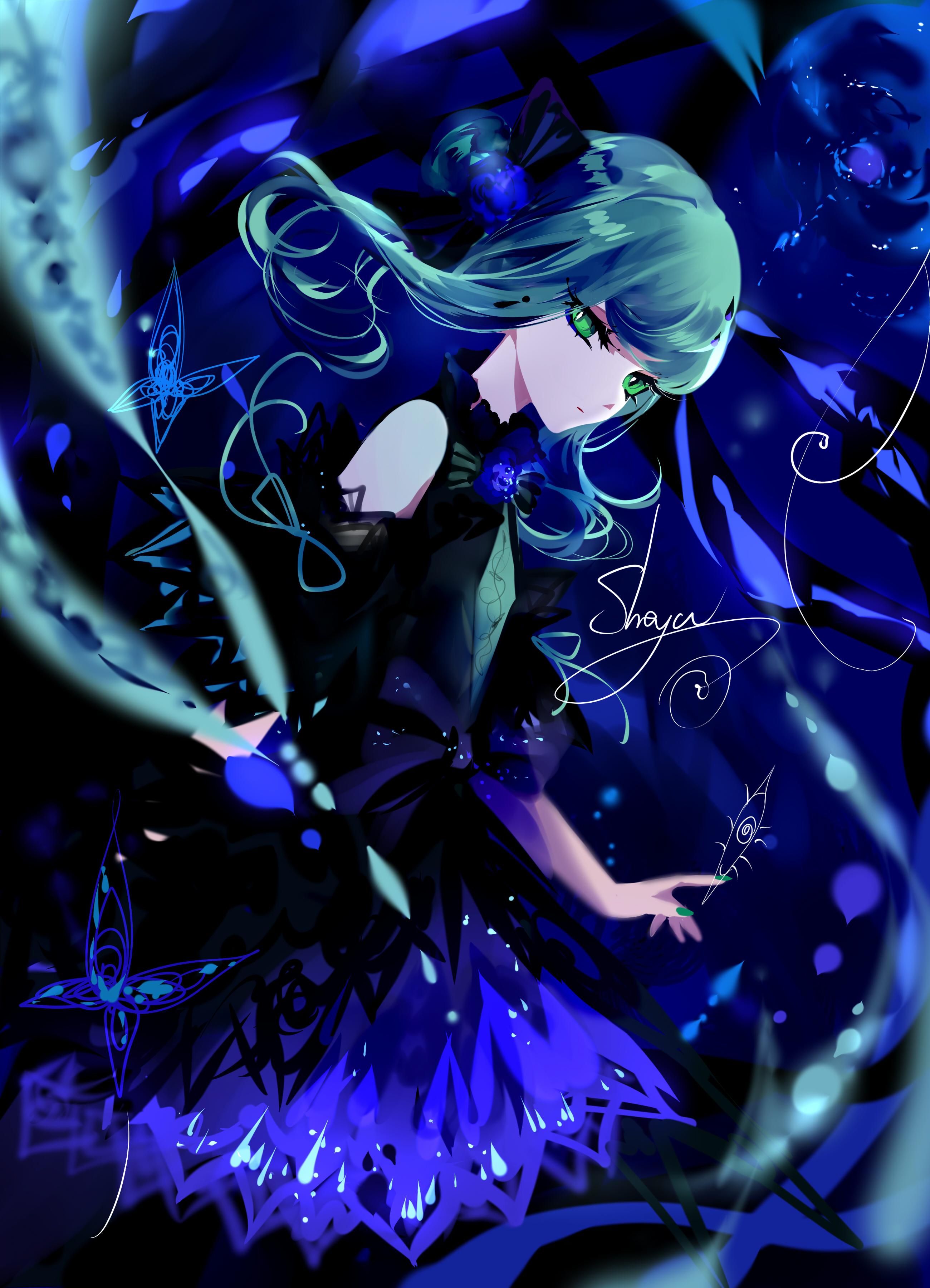 Anime 2600x3600 sheya original characters long hair turquise hair hair ornament green eyes looking at viewer dress bare shoulders nail polish