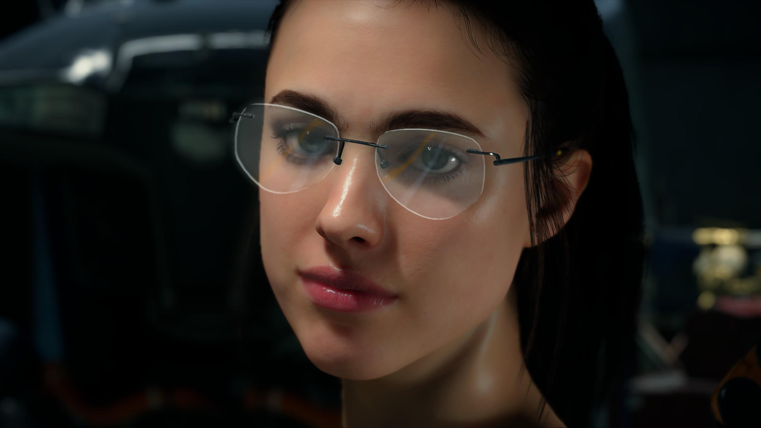 General 2560x1440 Death Stranding Mama (Death Stranding) Margaret Qualley screen shot video game art Hideo Kojima dark hair glasses women with glasses