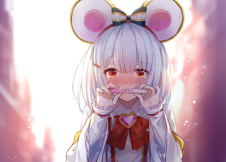 Anime 1500x1078 anime anime girls mouse ears white hair red eyes embarrassed silver hair animal ears Granblue Fantasy Vikala (Granblue Fantasy) Hika