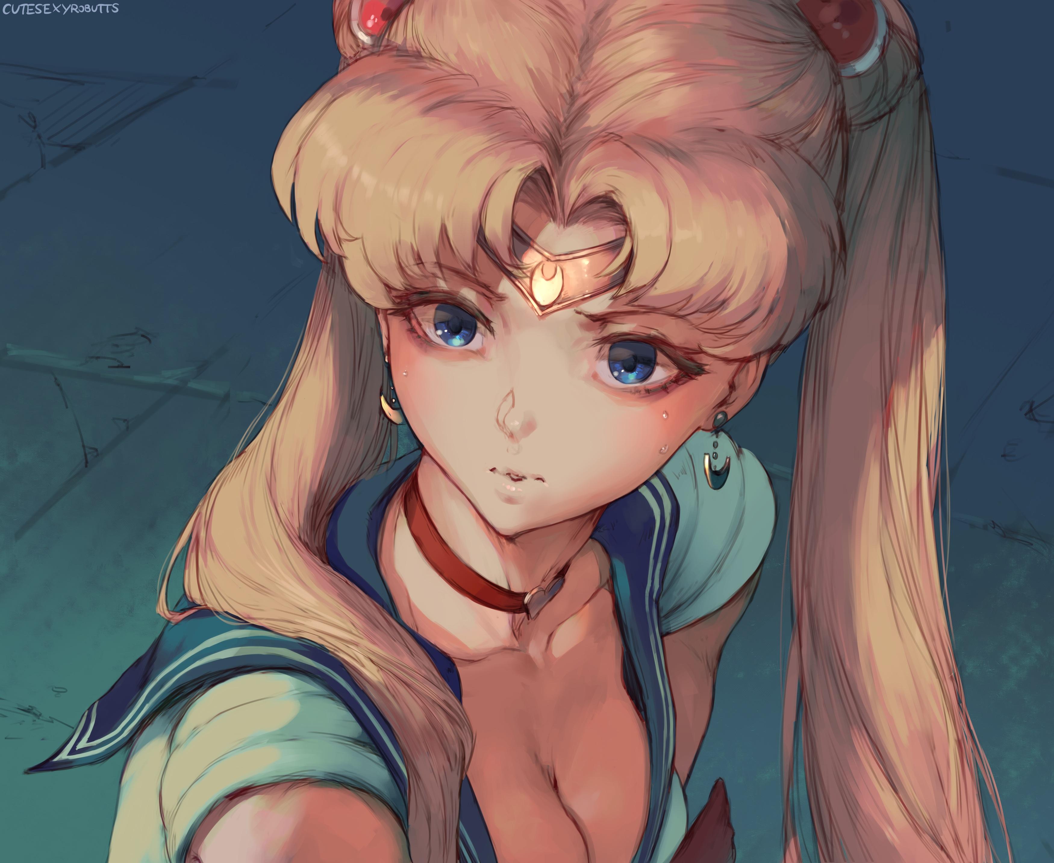 Anime 3500x2865 Cutesexyrobutts Sailor Moon Tsukino Usagi twintails blue eyes long hair collar choker school uniform parody cleavage headband anime girls crying small boobs 2D fan art looking away no bra blonde