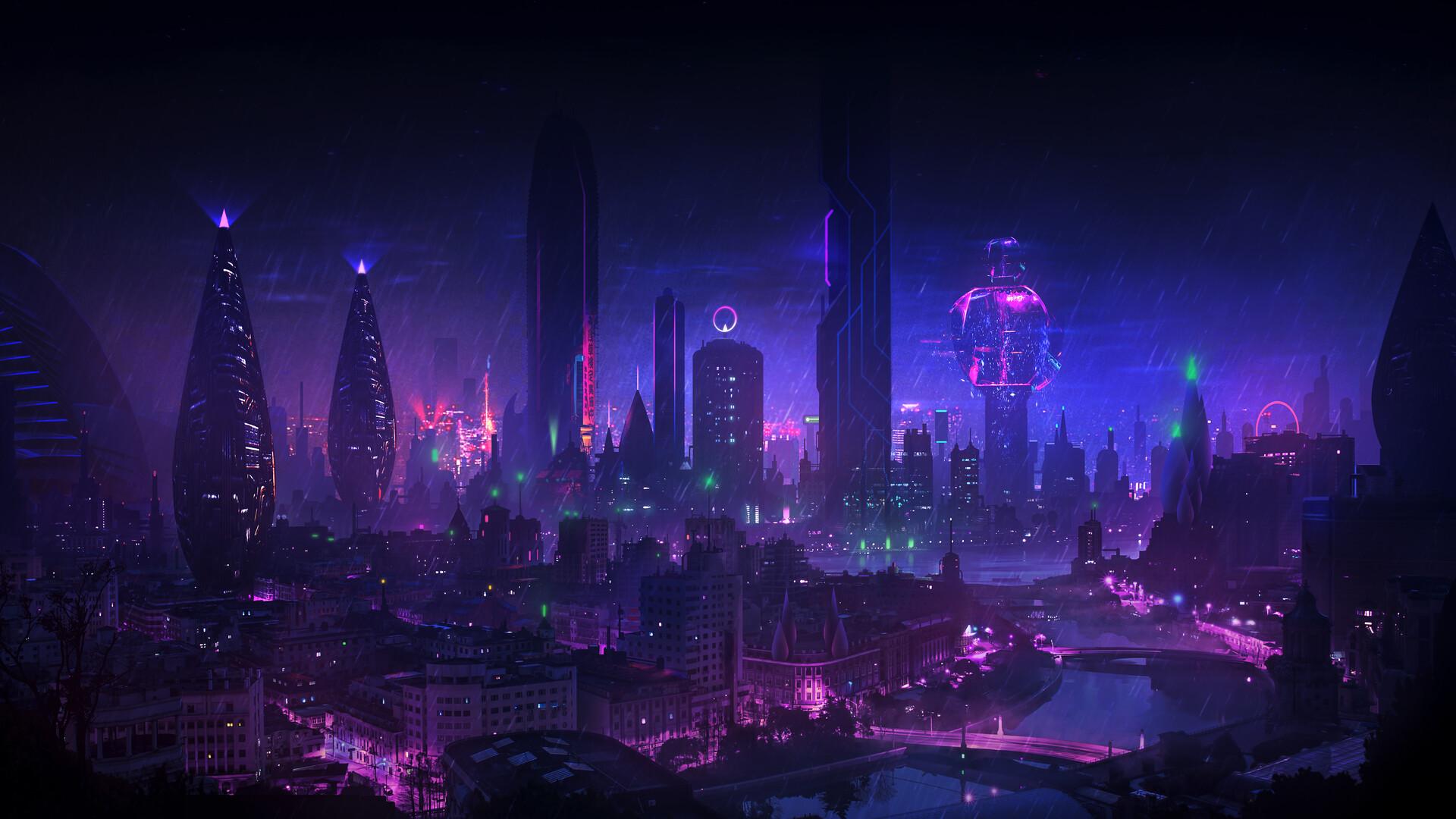 General 1920x1080 DominiqueVanVelsen cyberpunk city night rain neon glow cityscape purple bridge