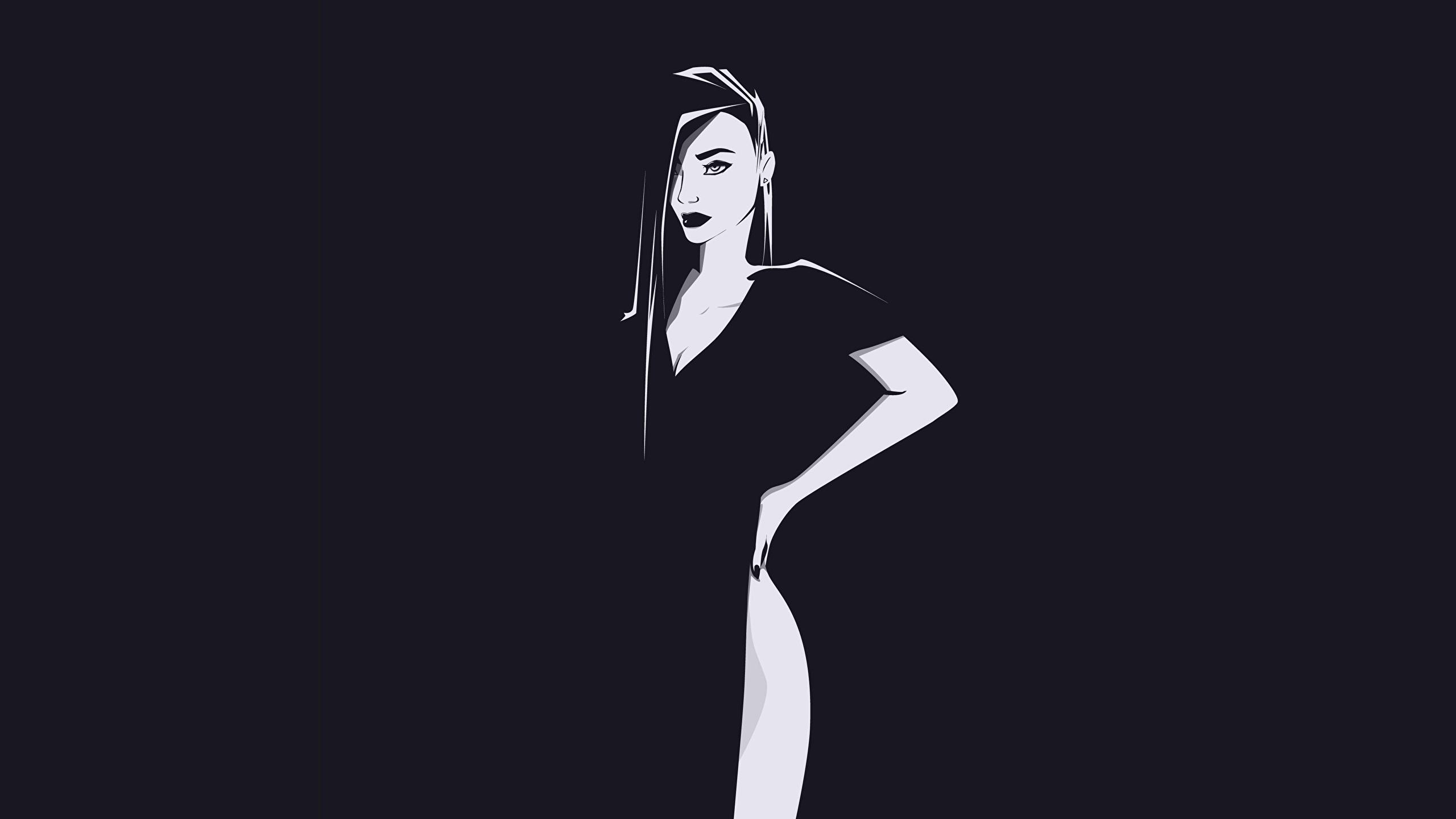 General 2560x1440 silhouette vector art black white minimalism