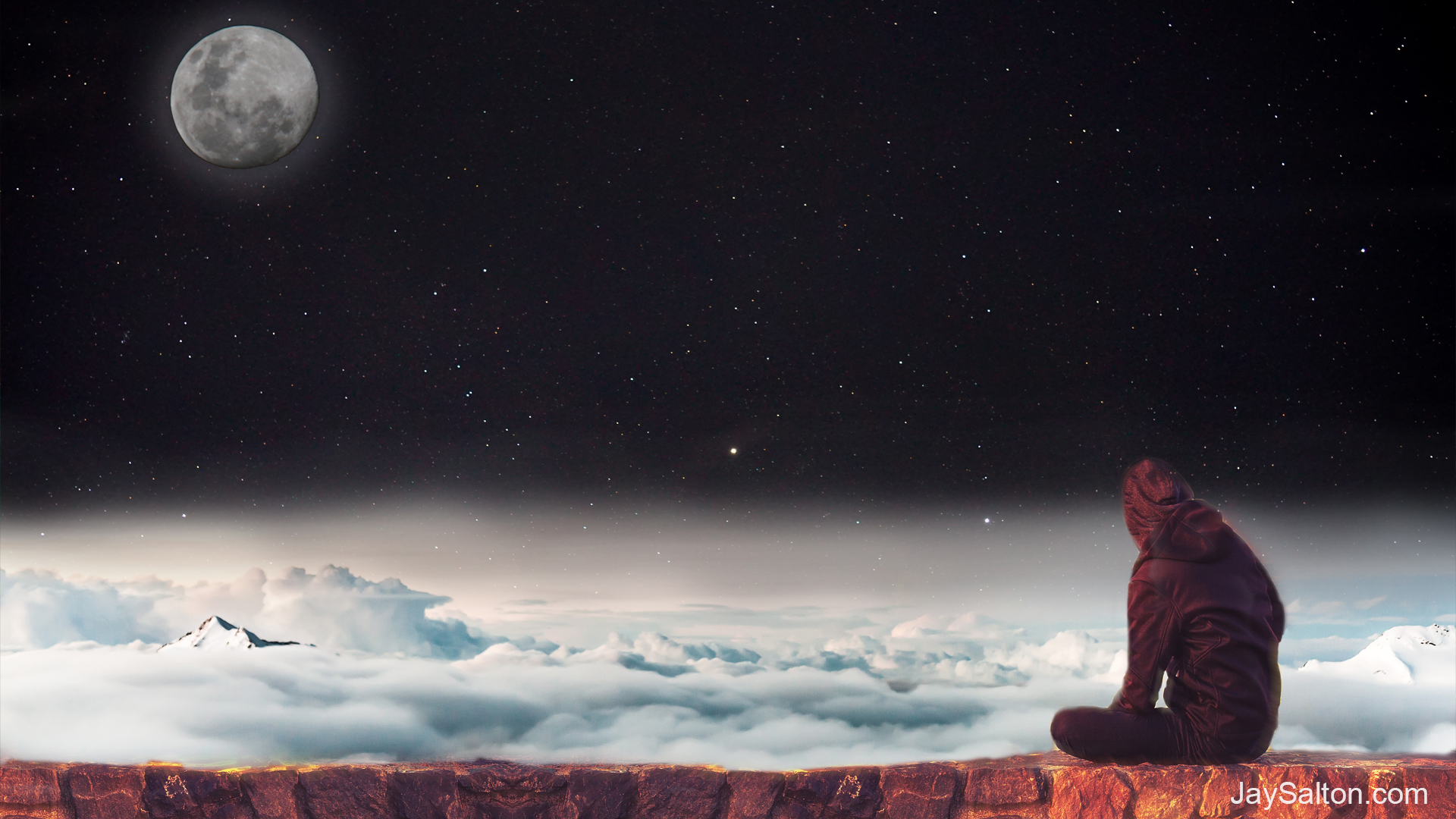 General 1920x1080 stars starscape space Moon moon phases clouds science fiction digital art sky night climbing rock climbing heights clear sky