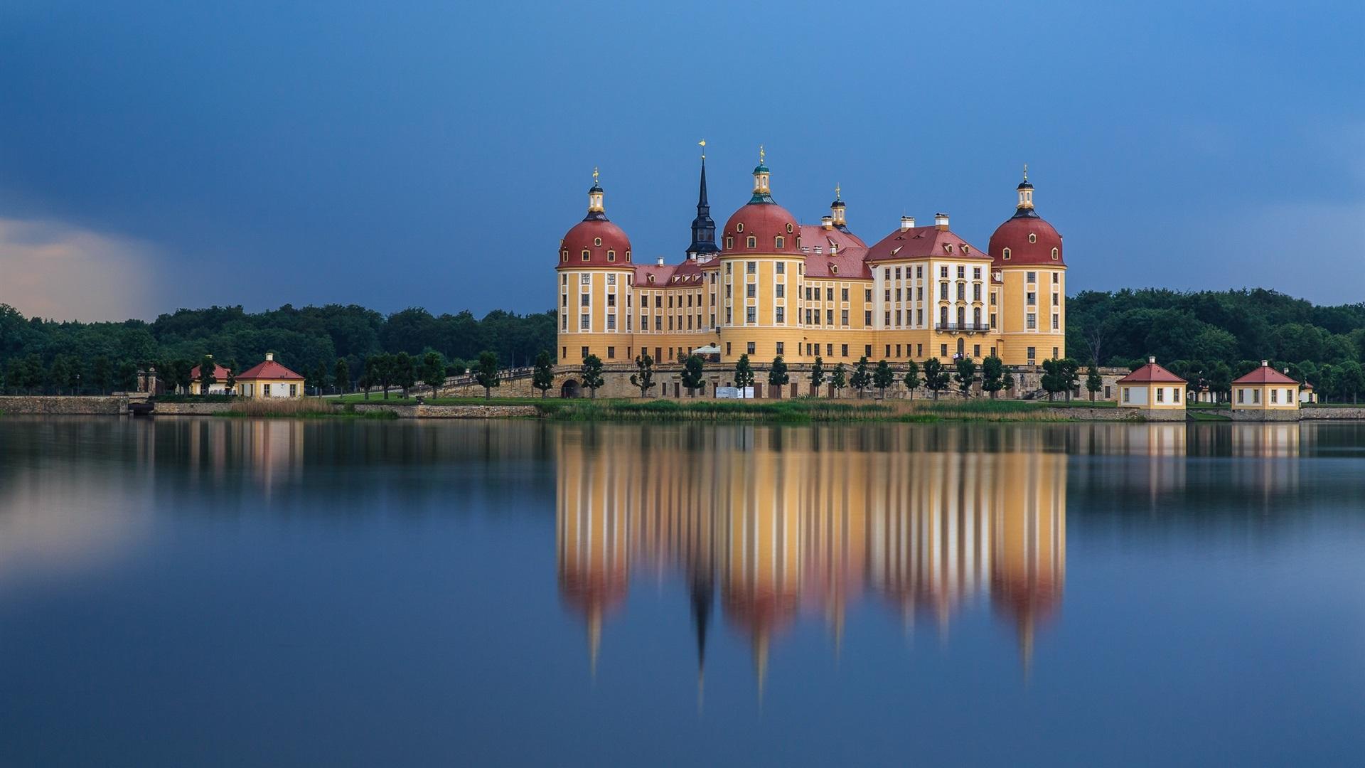General 1920x1080 lake nature sky blue forest Germany moritzburg castle house building landscape