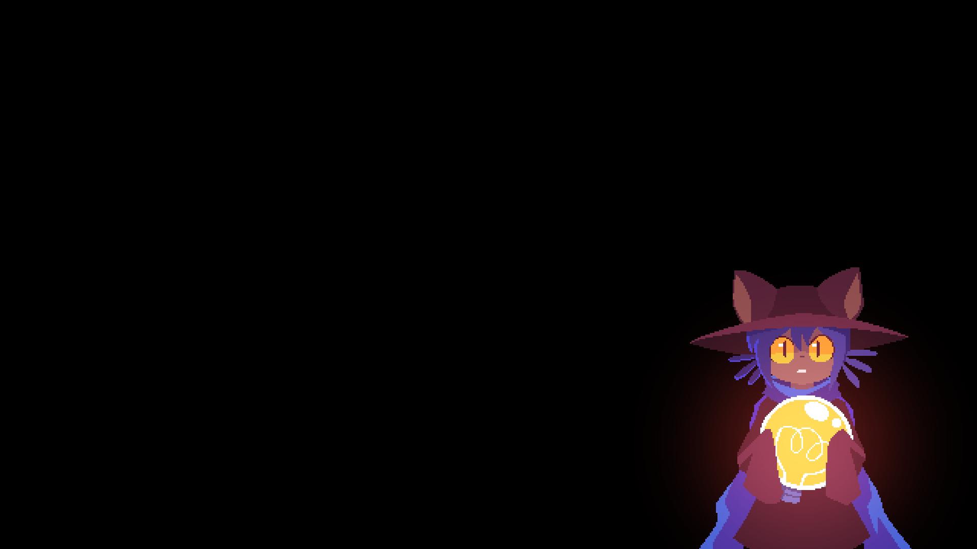Anime 1920x1080 OneShot Niko RPG Maker video game art video game characters neko ears cat boy hat scarf lightbulb minimalism pixel art dark background edit