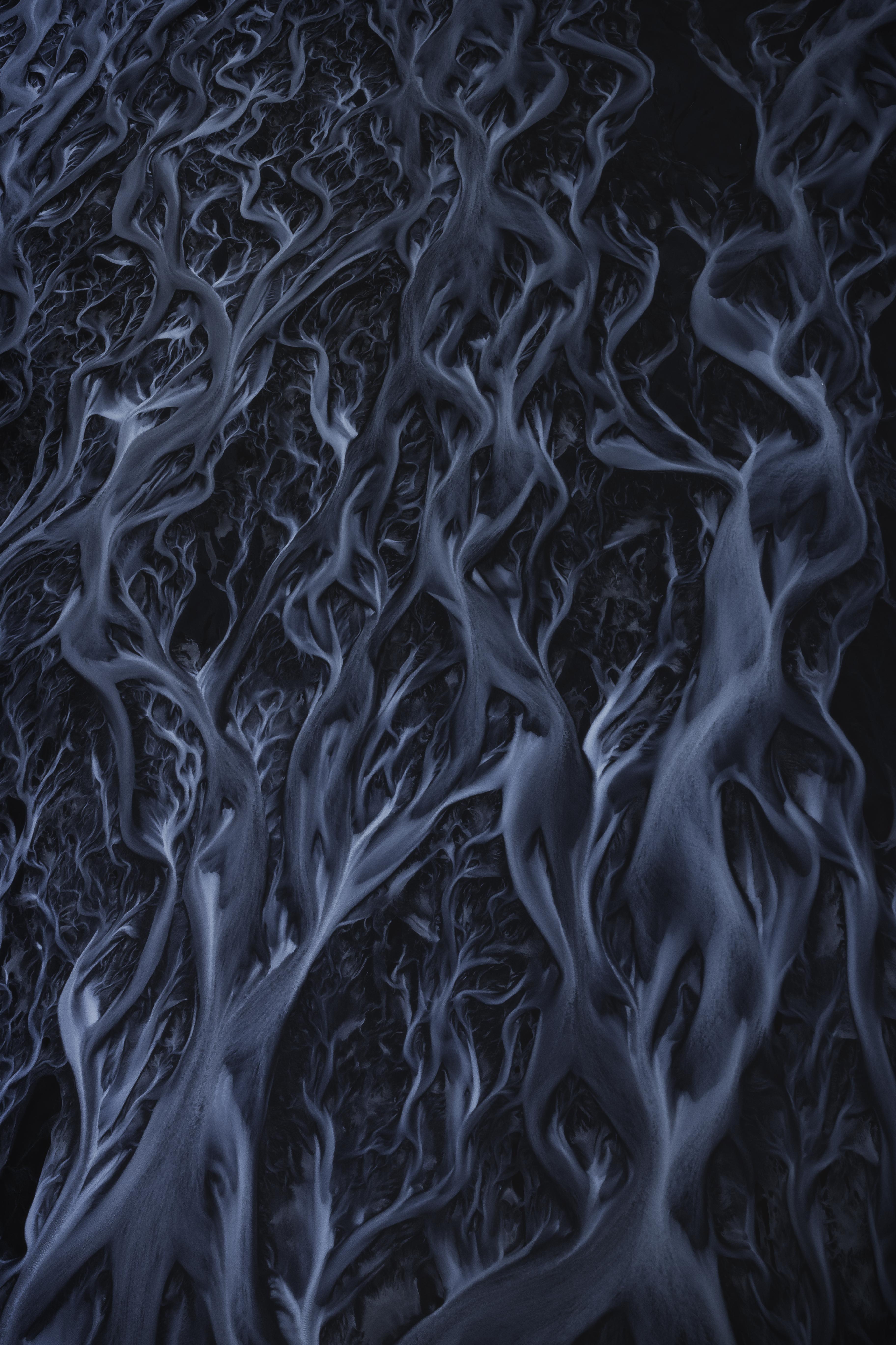 General 3648x5472 stream Glacial Lake Iceland ice nature aerial view portrait display dark black