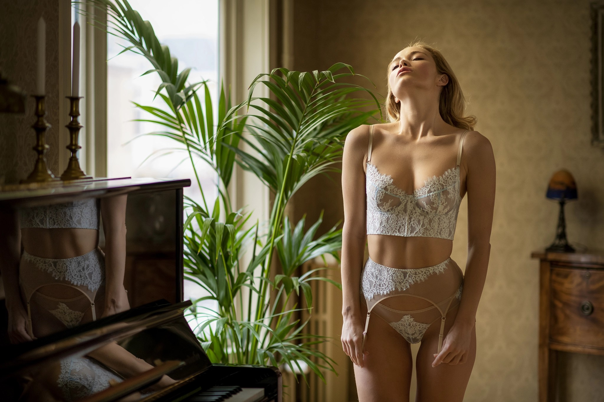 People 2048x1365 Chris Bos white lingerie lingerie women indoors the gap closed eyes women window belly garter belt reflection plants piano Viktoria Yarova