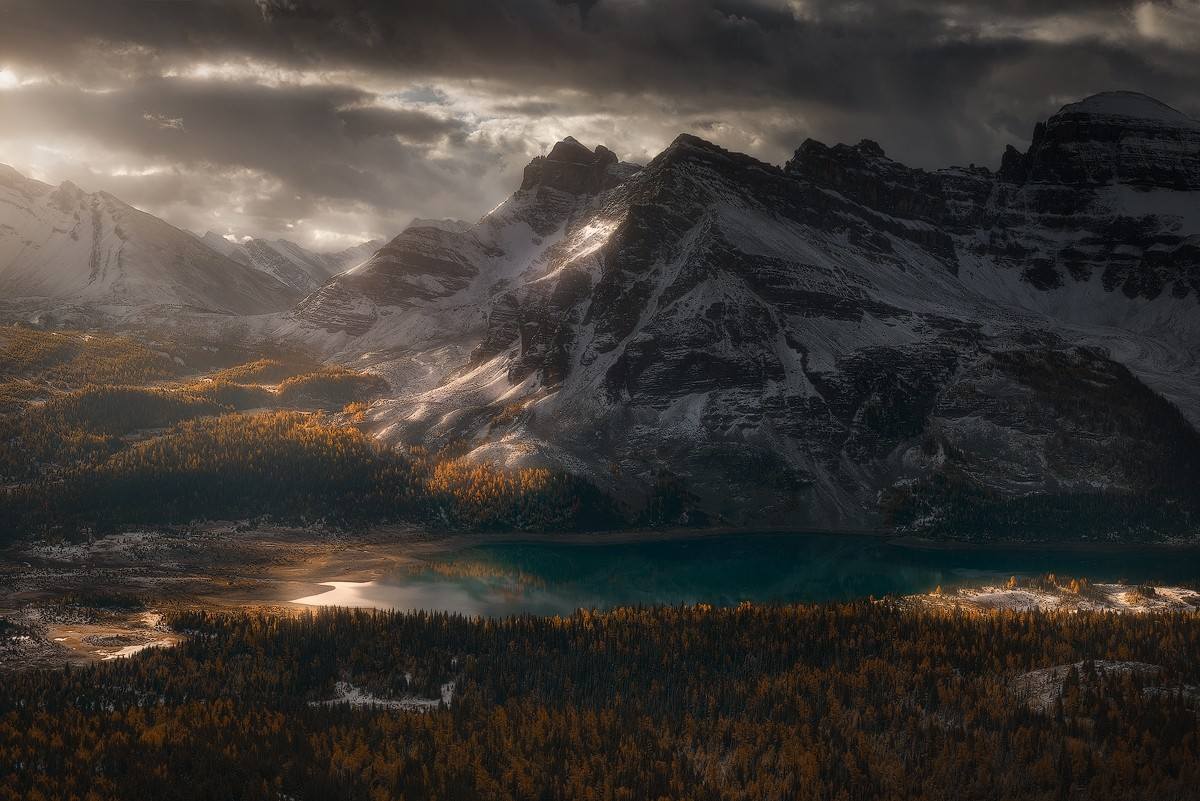 General 1200x801 photography nature landscape mountains forest lake snow clouds sunrise fall British Columbia Canada
