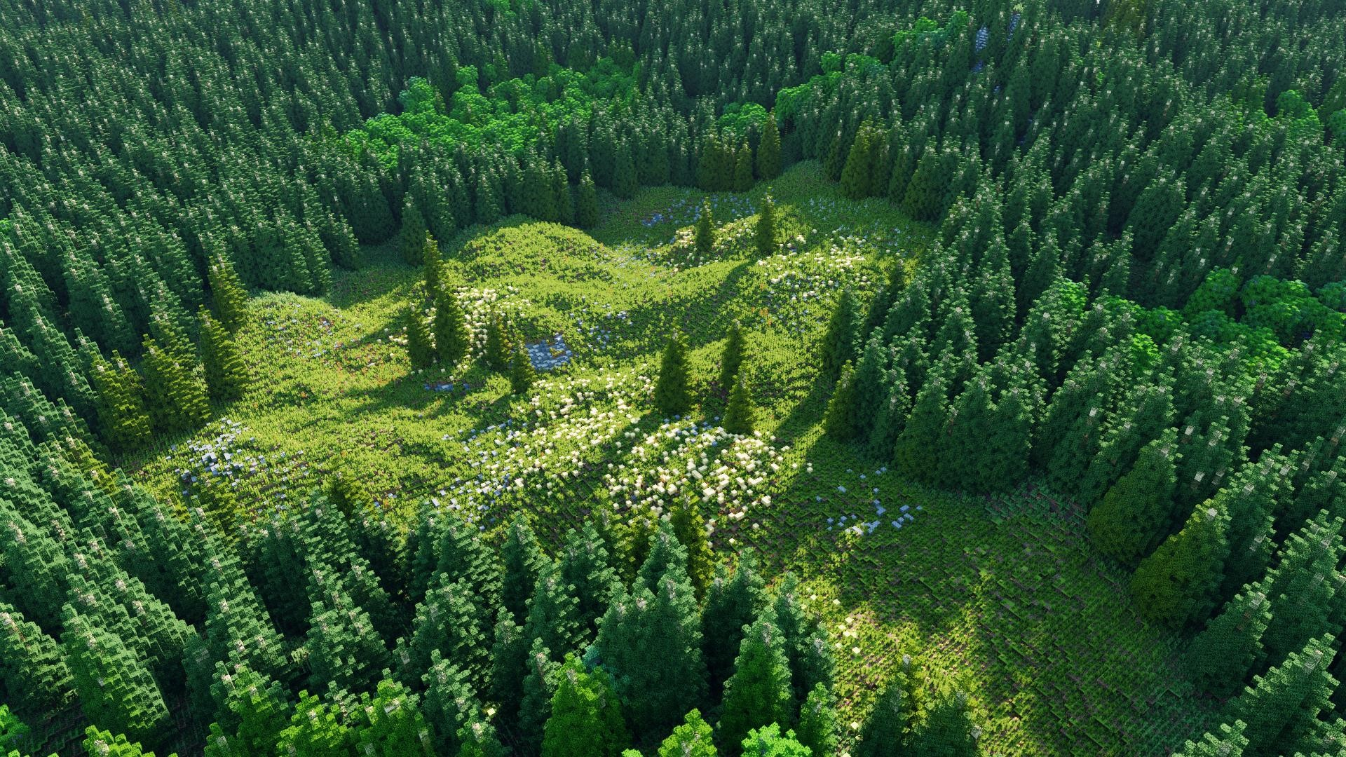 General 1920x1080 Minecraft Chunky green forest video games tree bark