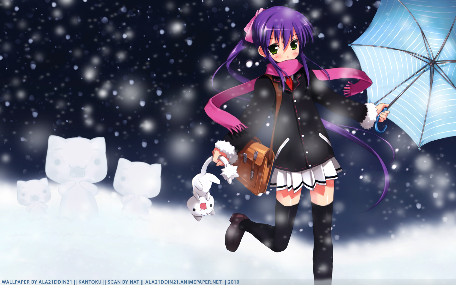 Anime 1920x1200 anime girls anime umbrella 2010 (Year) purple hair green eyes miniskirt