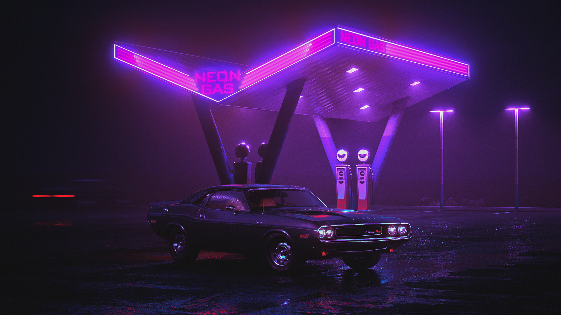General 1920x1080 car purple Retrowave landscape neon violet night neon glow wet street gas stations dzk Charger RT