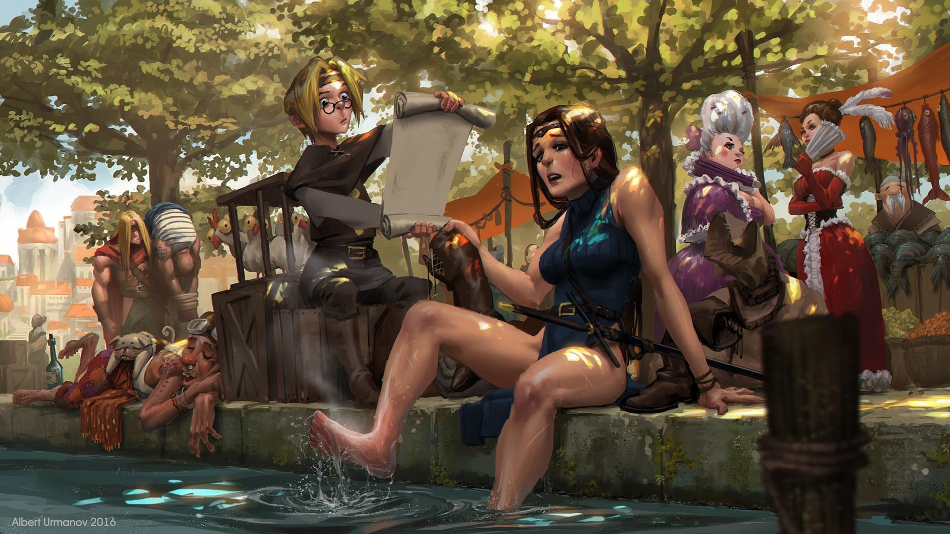 General 1920x1080 fantasy art warrior barefoot humor fantasy girl water Albert Urmanov