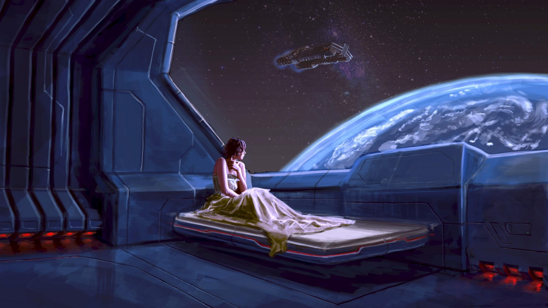 General 1920x1080 women bed galaxy space Earth spaceship