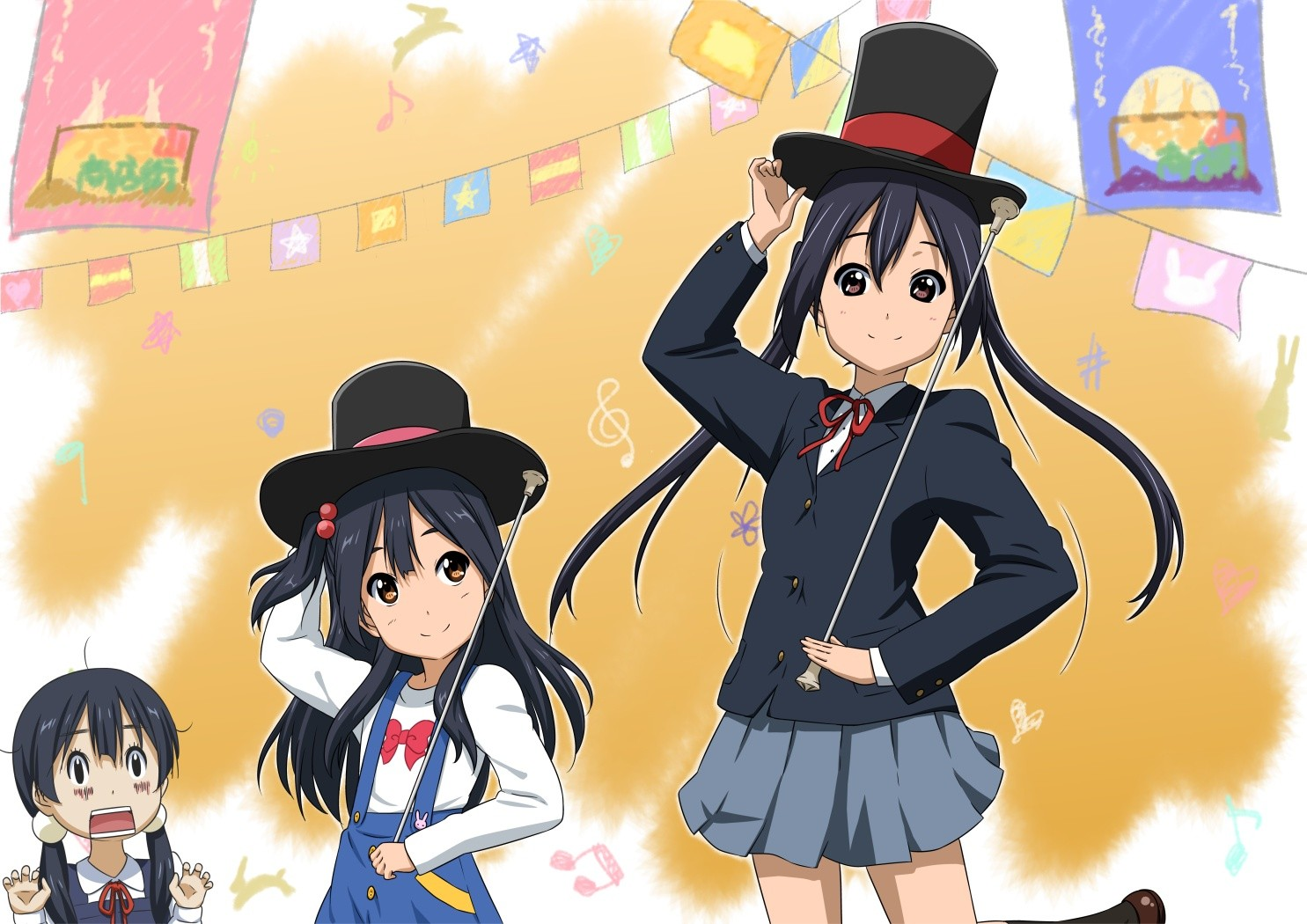 Anime 1485x1050 anime girls long hair dark hair K-ON! Azuki Azusa skirt top hat twintails schoolgirl Tamako Market Kitashirakawa Anko Kitashirakawa Tamako