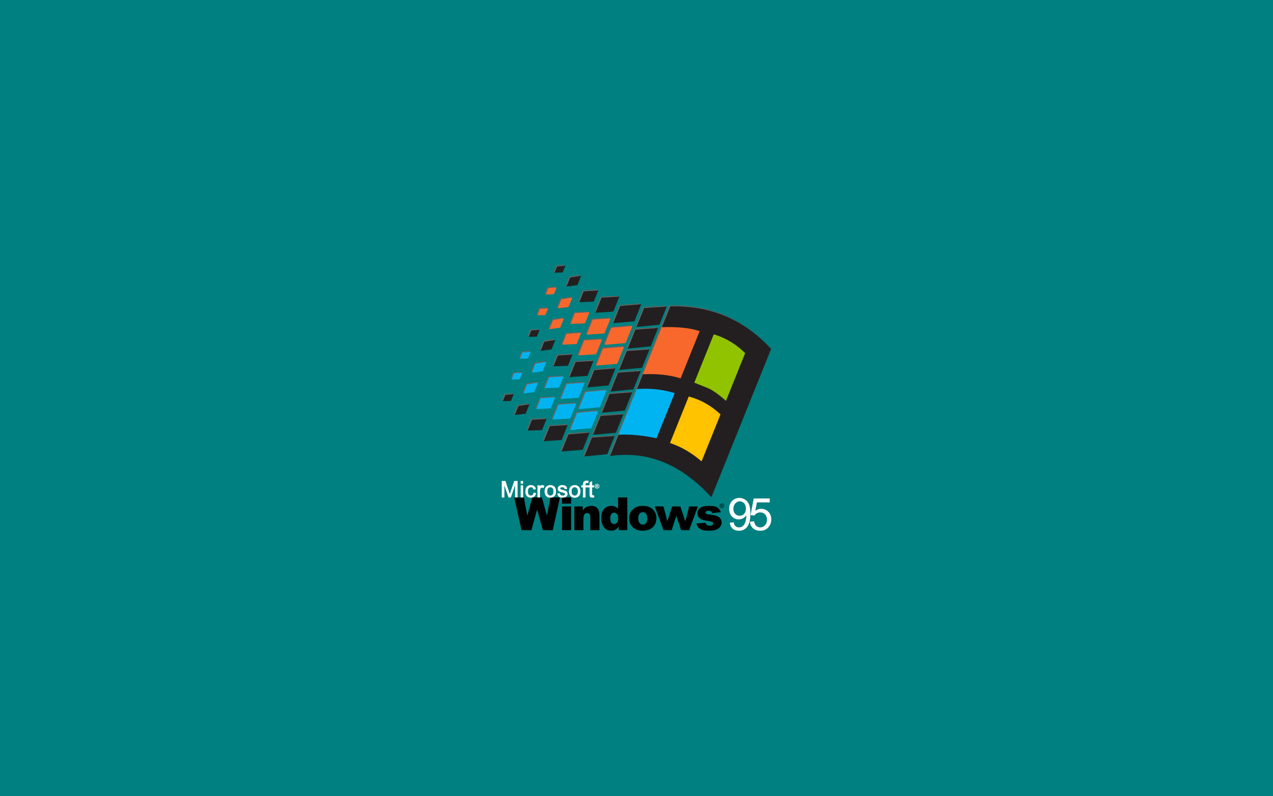 General 2560x1600 window Windows 95 Microsoft Windows Microsoft green background minimalism simple background simple logo computer nostalgia vintage teal