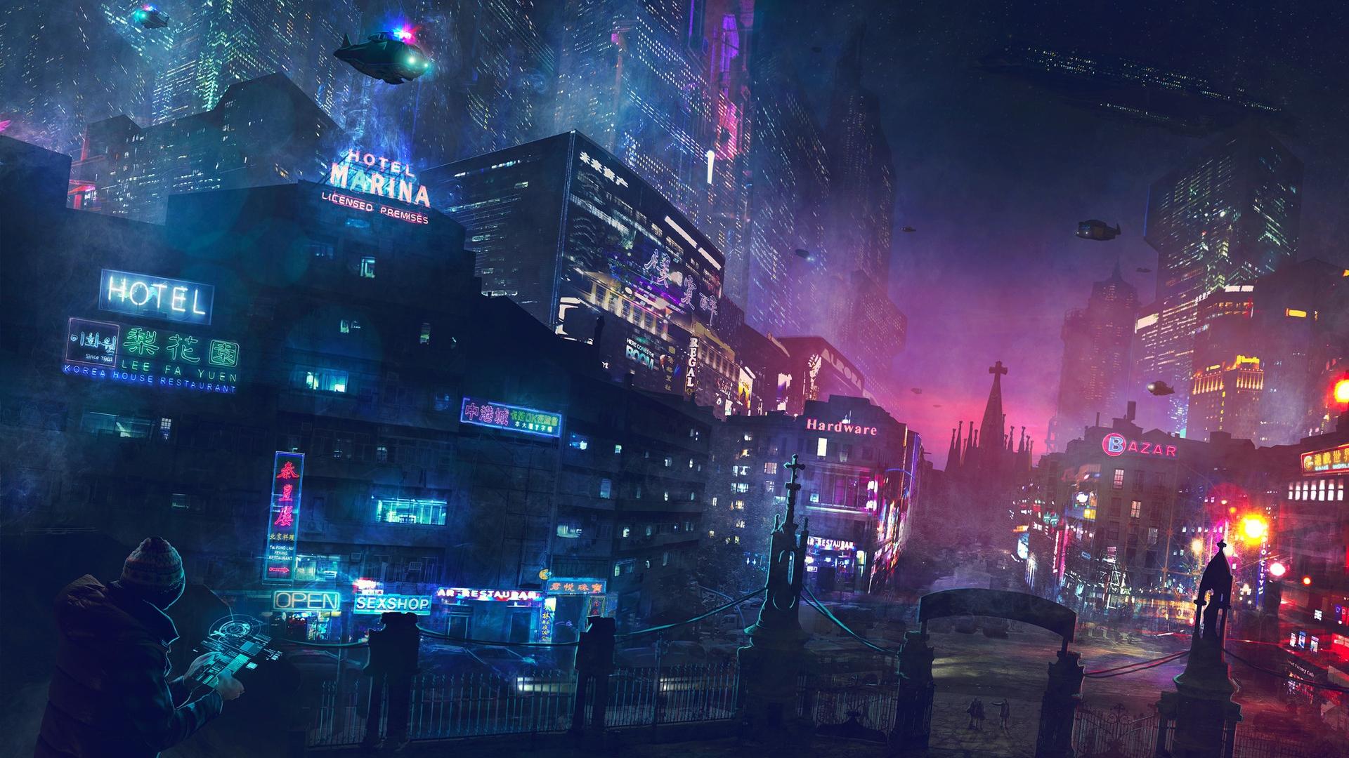 General 1920x1080 digital art science fiction city cyberpunk