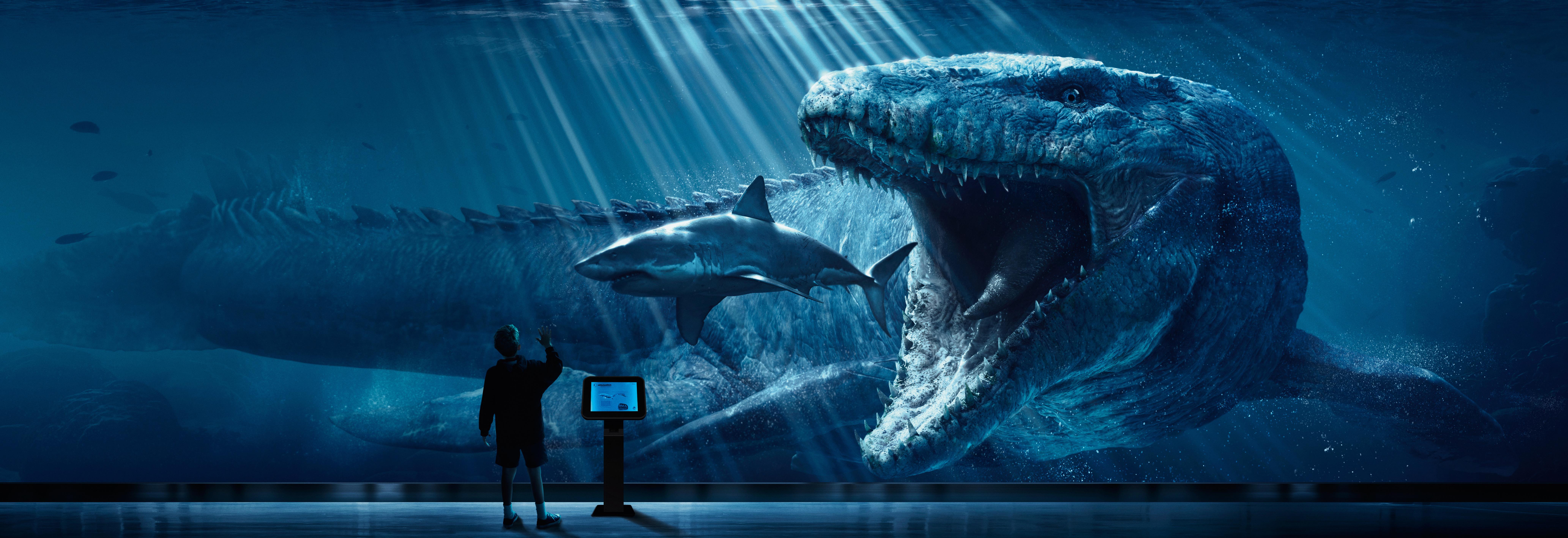 General 8261x2835 digital art Jurassic World shark dinosaurs Jurassic Park prehistoric fish animals artwork render CGI children