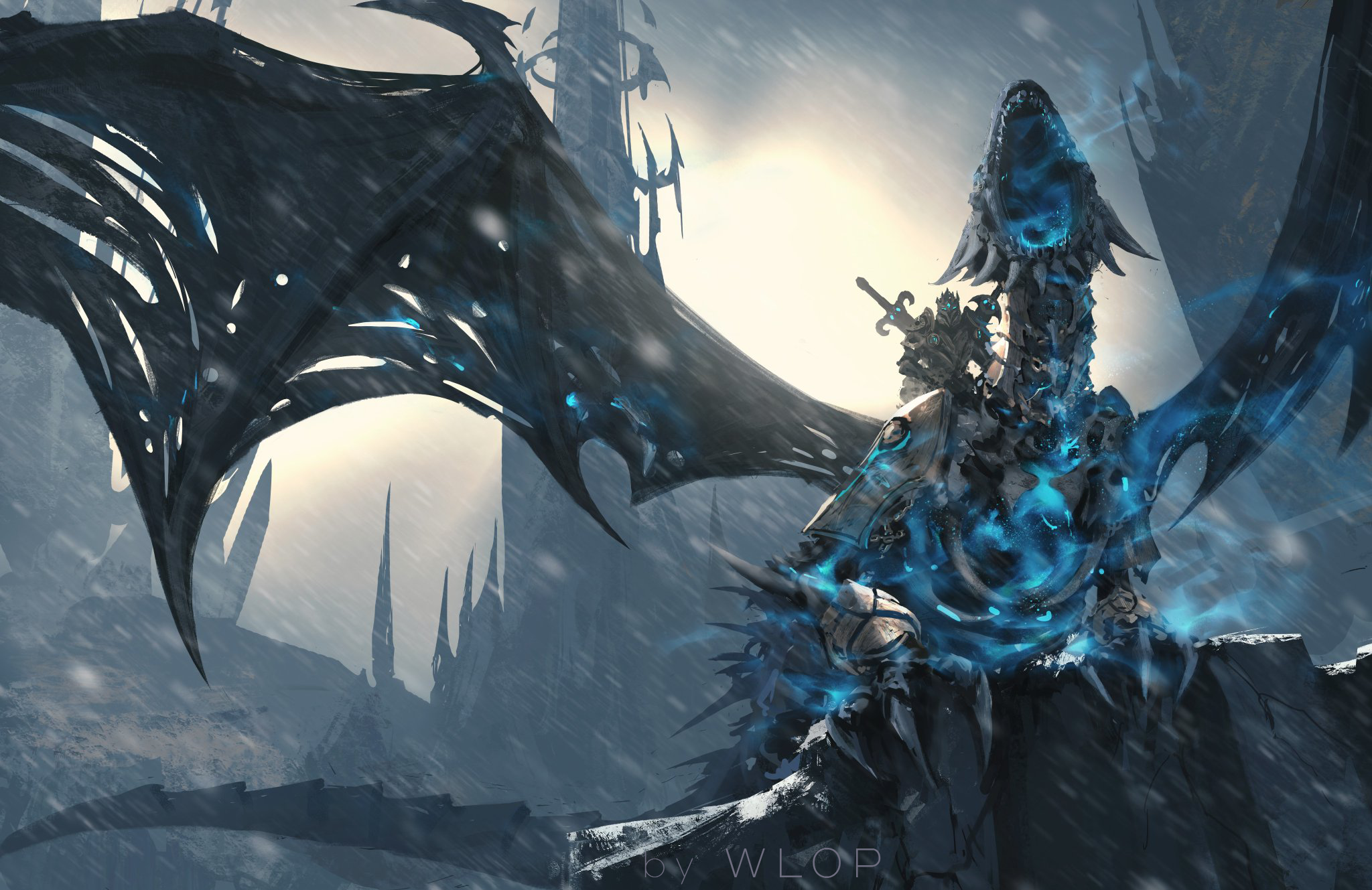 General 2048x1329 digital art artwork WLOP video games Warcraft dragon Sindragosa World of Warcraft PC gaming fantasy art Arthas Menethil