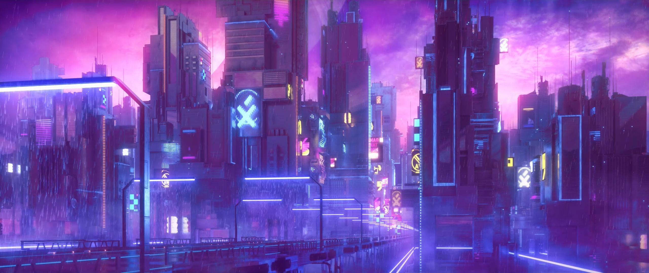 General 2560x1080 cyberpunk neon futuristic city purple neon lights artwork science fiction