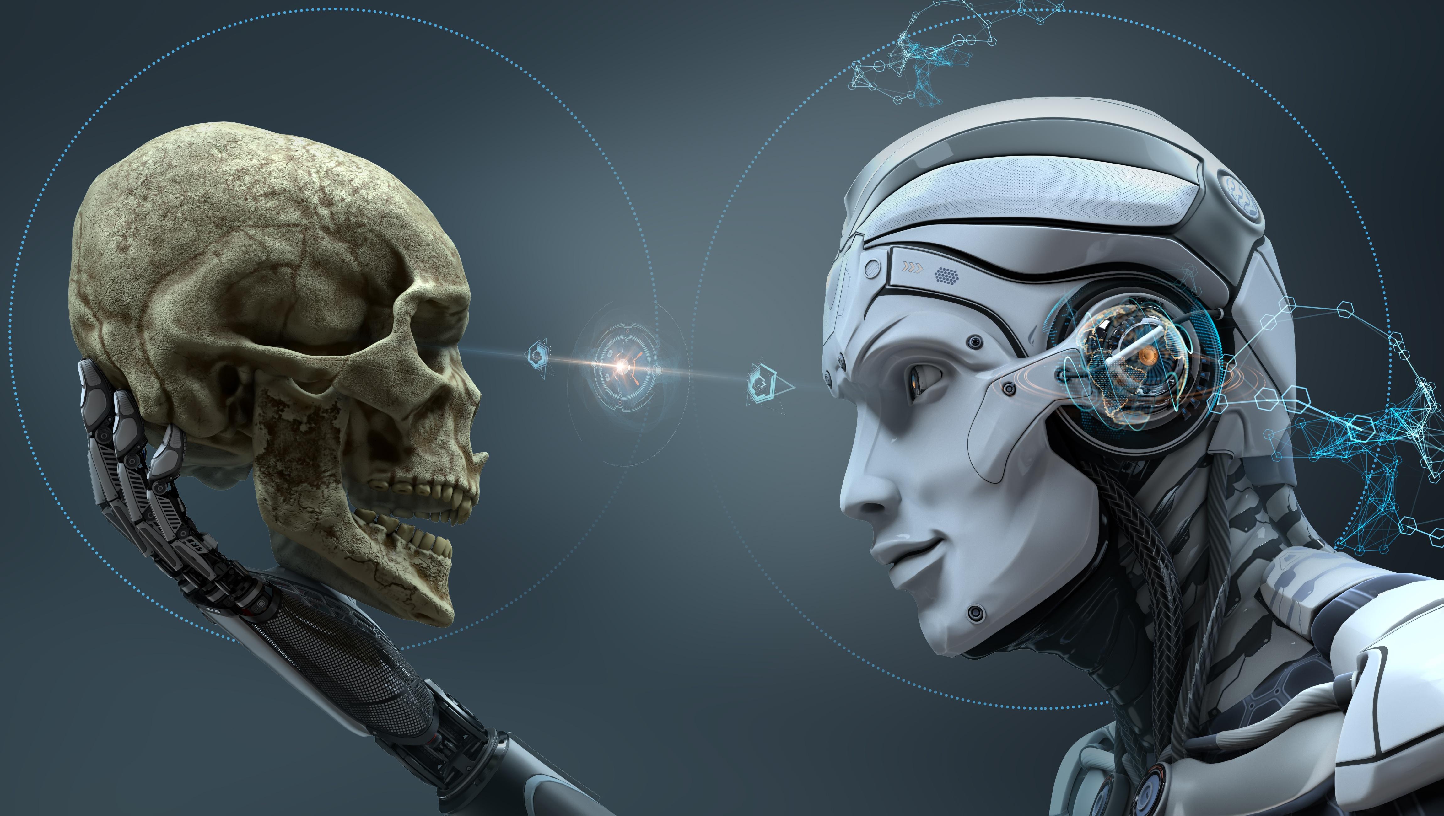 General 4600x2600 digital art skull machine robot
