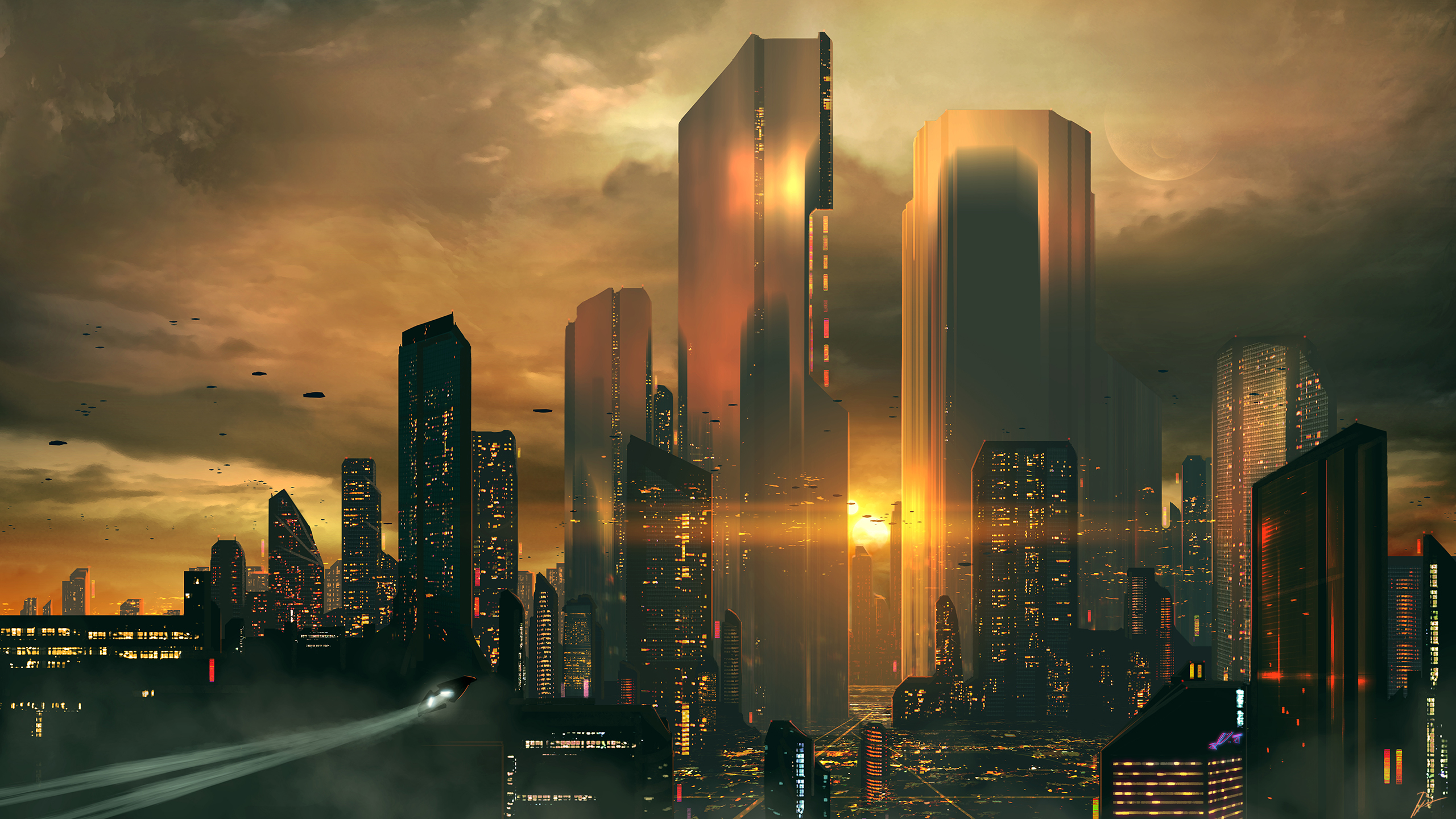 General 2560x1440 JoeyJazz futuristic science fiction sunset skyscraper cityscape