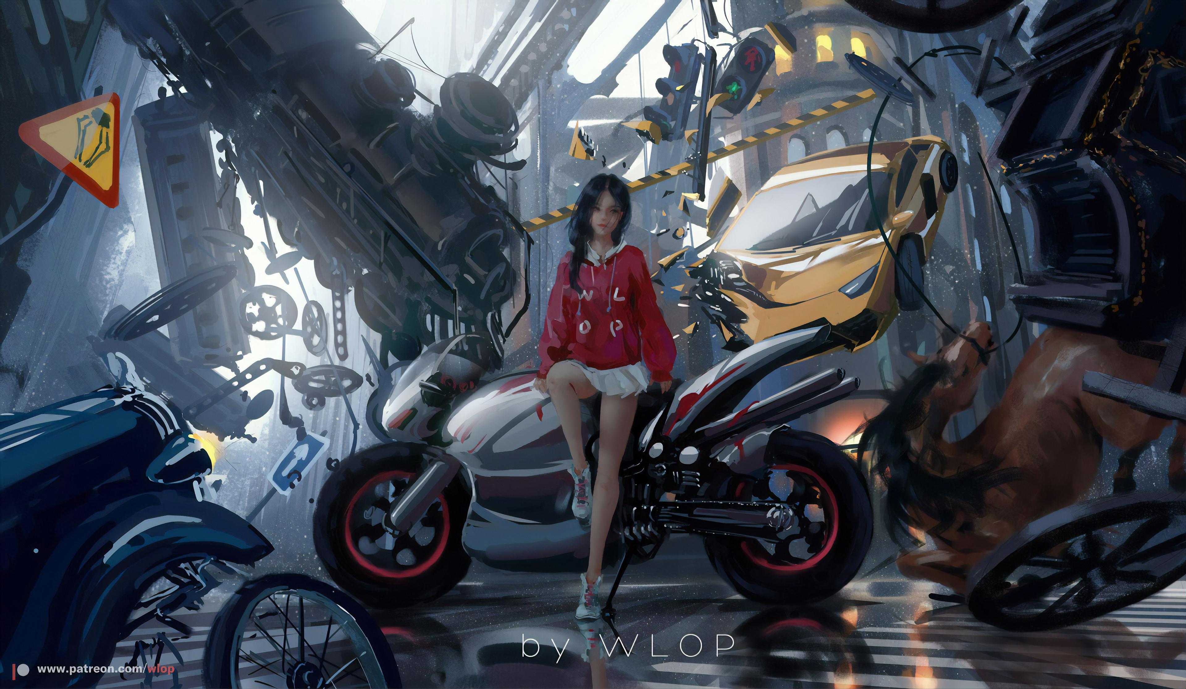 General 3840x2233 artwork digital art women motorcycle car WLOP skirt miniskirt dark hair