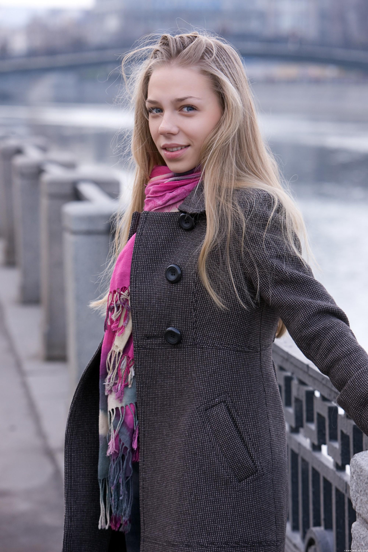 People 2000x3000 blonde women urban long hair women outdoors Liv A coats Beata D. looking at viewer Liv open coat smiling MetArt Magazine pornstar