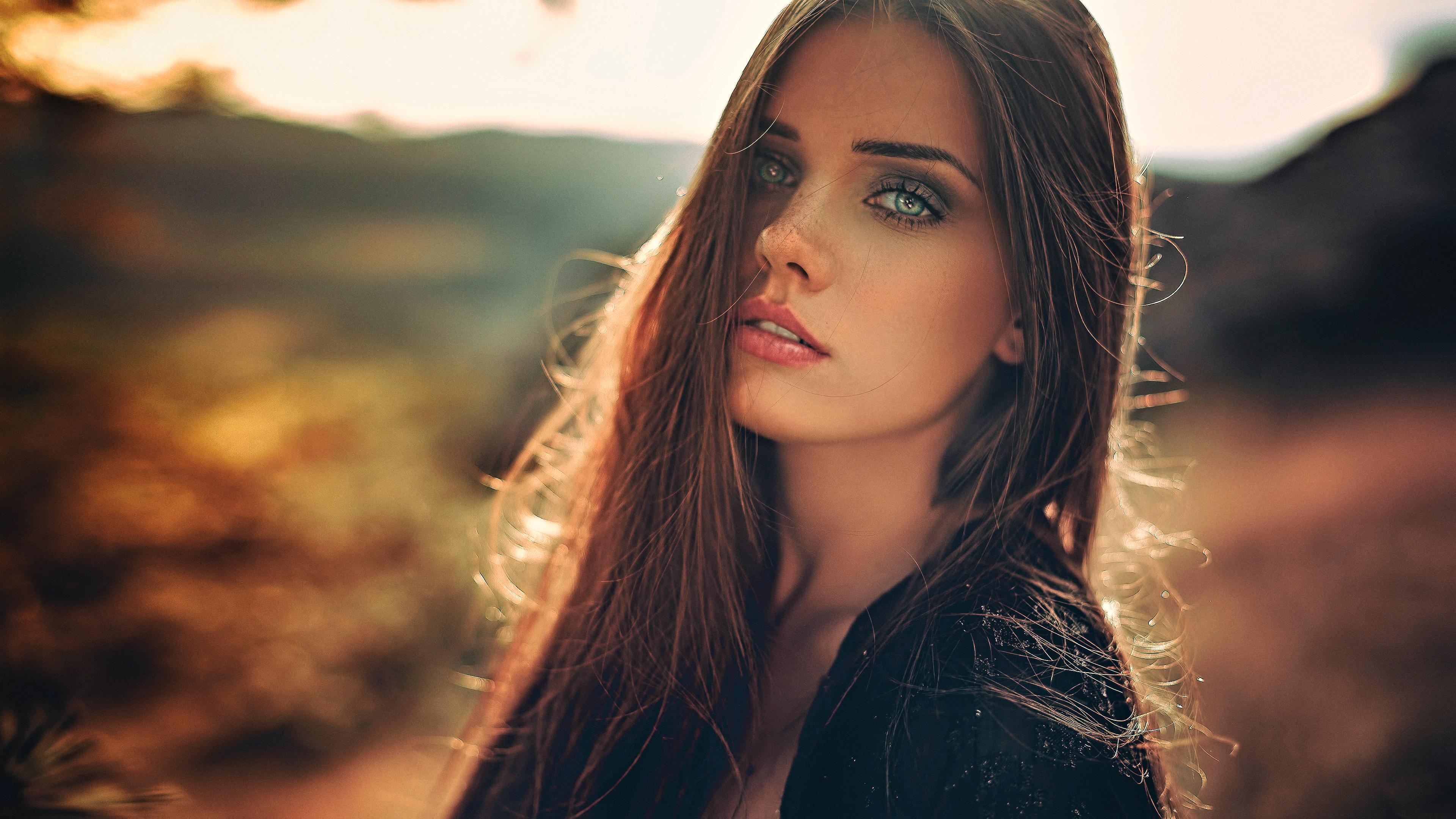 People 3840x2160 looking at viewer model portrait women photography face sunlight depth of field brunette pink lipstick Anne Hoffmann
