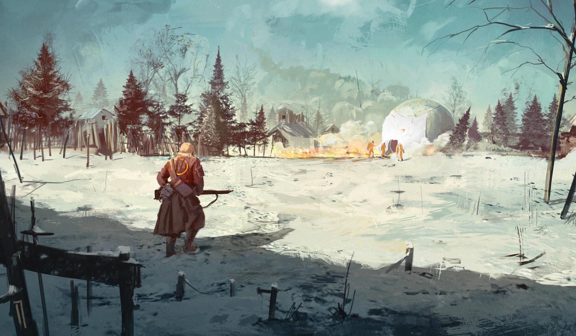 General 1920x1121 Ismail Inceoglu concept art men winter snow clothes nature gun