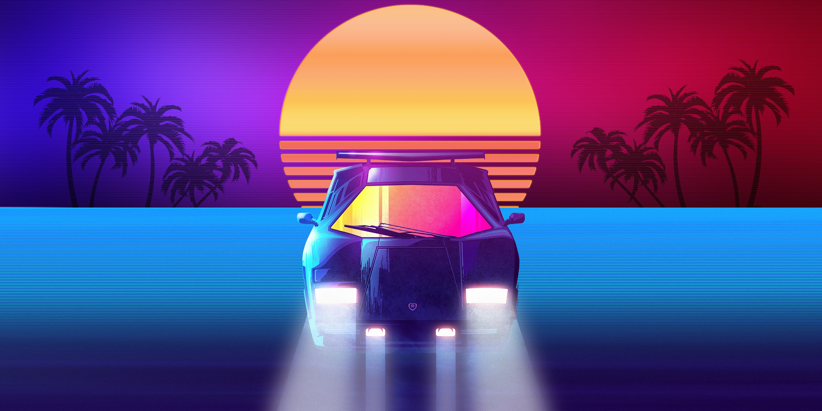 General 2800x1400 synthwave Retrowave Lamborghini car vehicle artwork colorful Lamborghini Countach