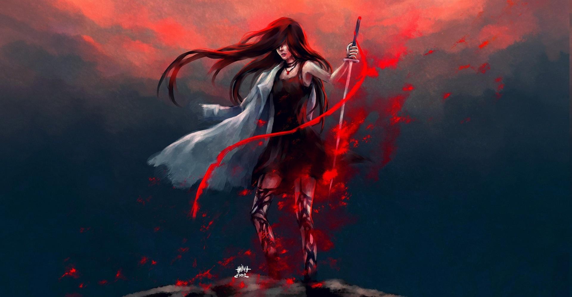 General 1920x998 artwork fantasy art fantasy girl sword long hair women