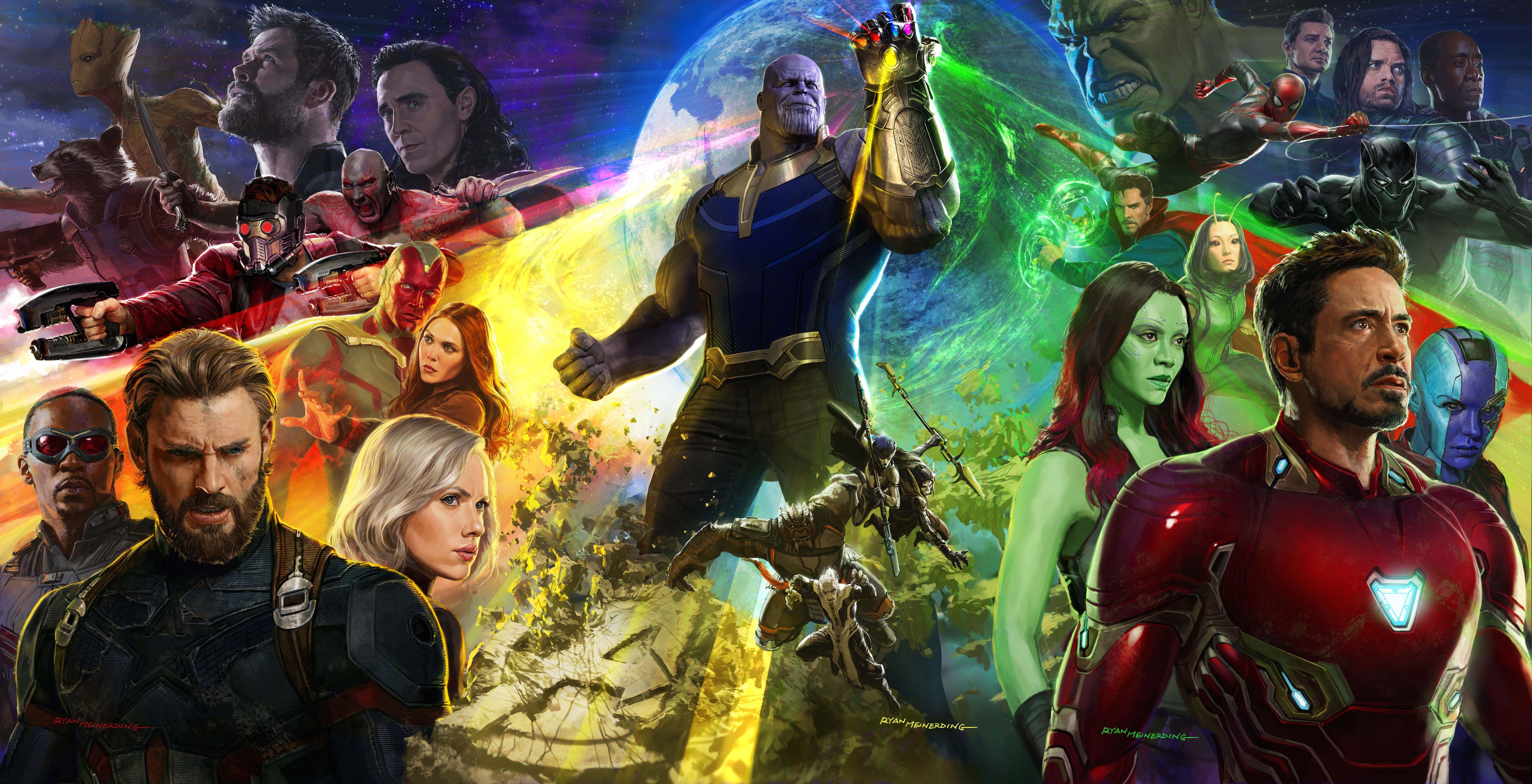 General 6000x3071 Avengers: Infinity war movies Marvel Cinematic Universe Thanos Iron Man Captain America Gamora  Black Widow Falcon Groot Thor Loki Drax the Destroyer Scarlet Witch Rocket Raccoon Nebula (Marvel) Mantis (Marvel) Doctor Strange Vision Star Lord Black Panther Spider-Man Bucky Barnes War Machine  Hawkeye Hulk artwork