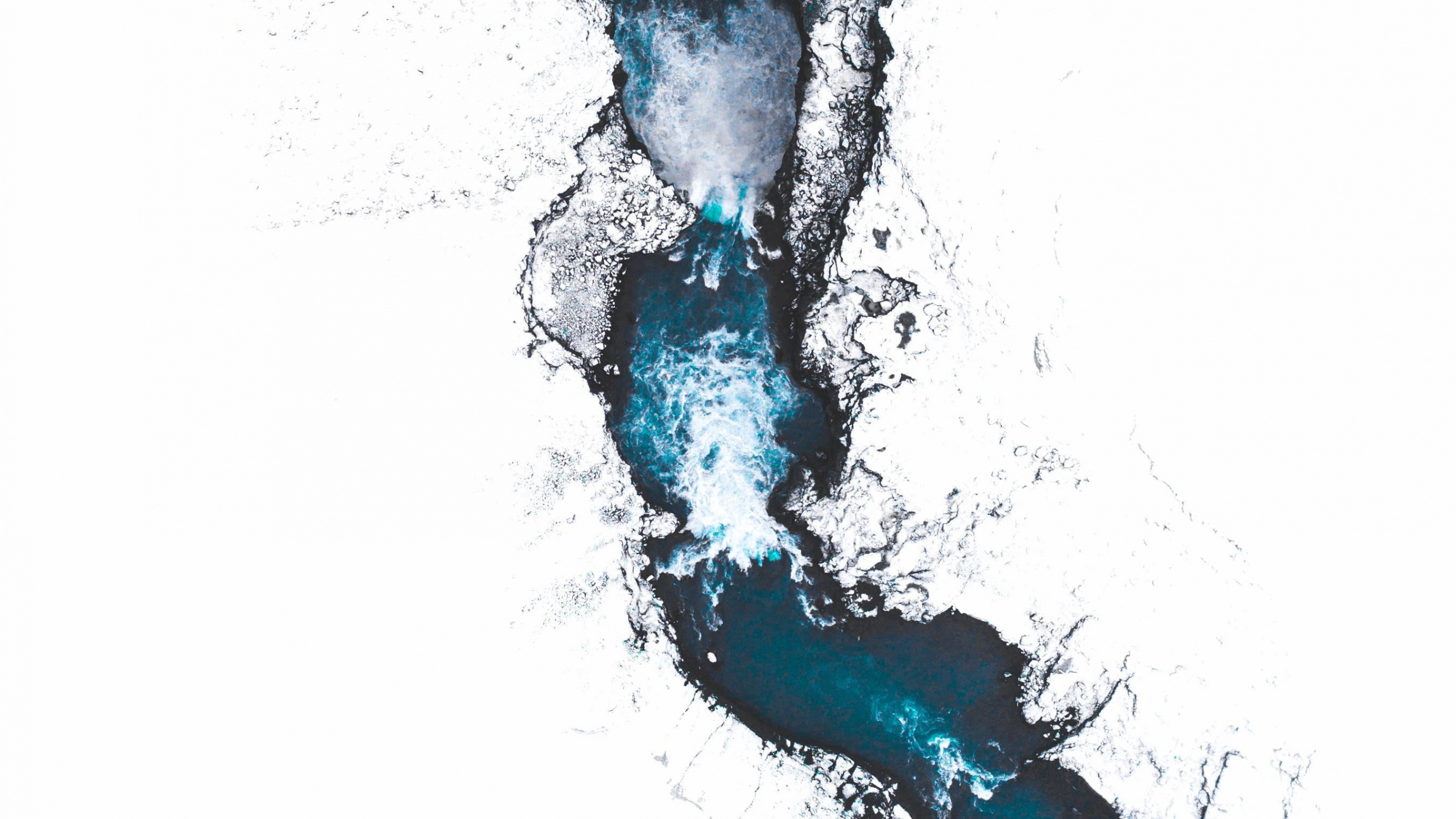 General 2560x1440 Iceland aerial river snow nature landscape water ice