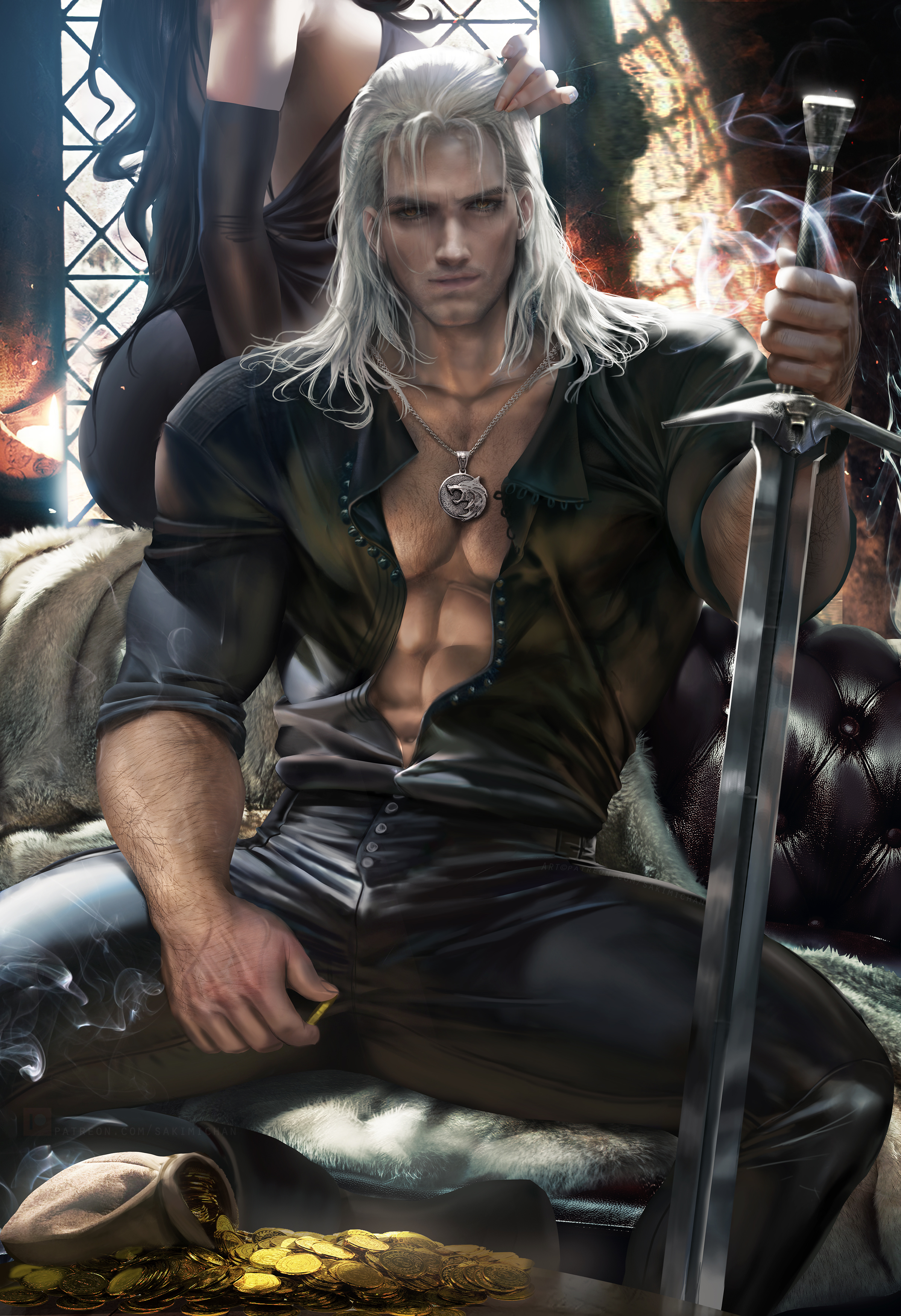 General 2395x3500 Geralt of Rivia Yennefer of Vengerberg The Witcher video games video game characters men women brunette long hair black dress white hair looking at viewer yellow eyes Fantasy Men necklace muscles 6-pack shirt open shirt pants black clothing sword weapon smoke coins gold money sitting portrait display vertical couch artwork drawing digital art illustration fan art Sakimichan frontal view