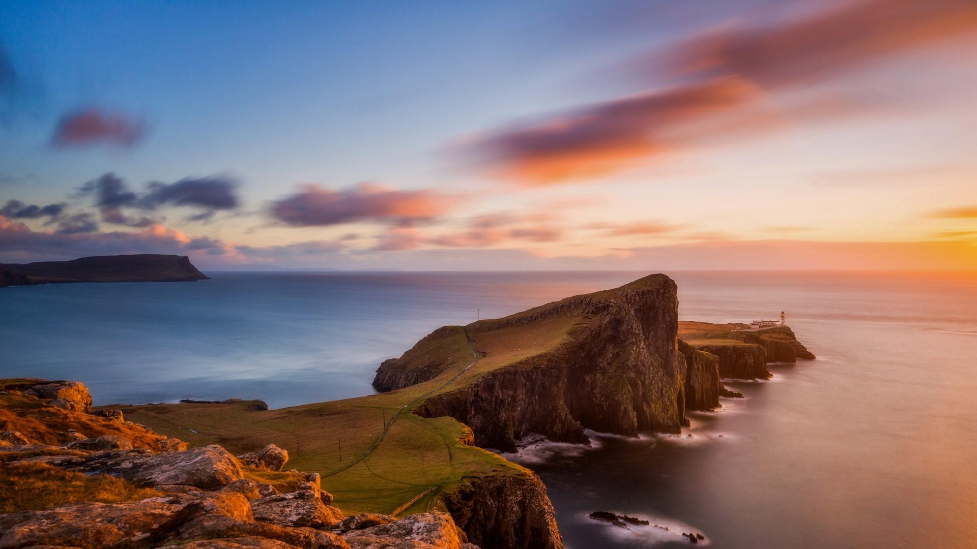 General 1920x1080 nature landscape clouds sky sea water long exposure horizon sunset rocks grass Skye Scotland UK far view lighthouse