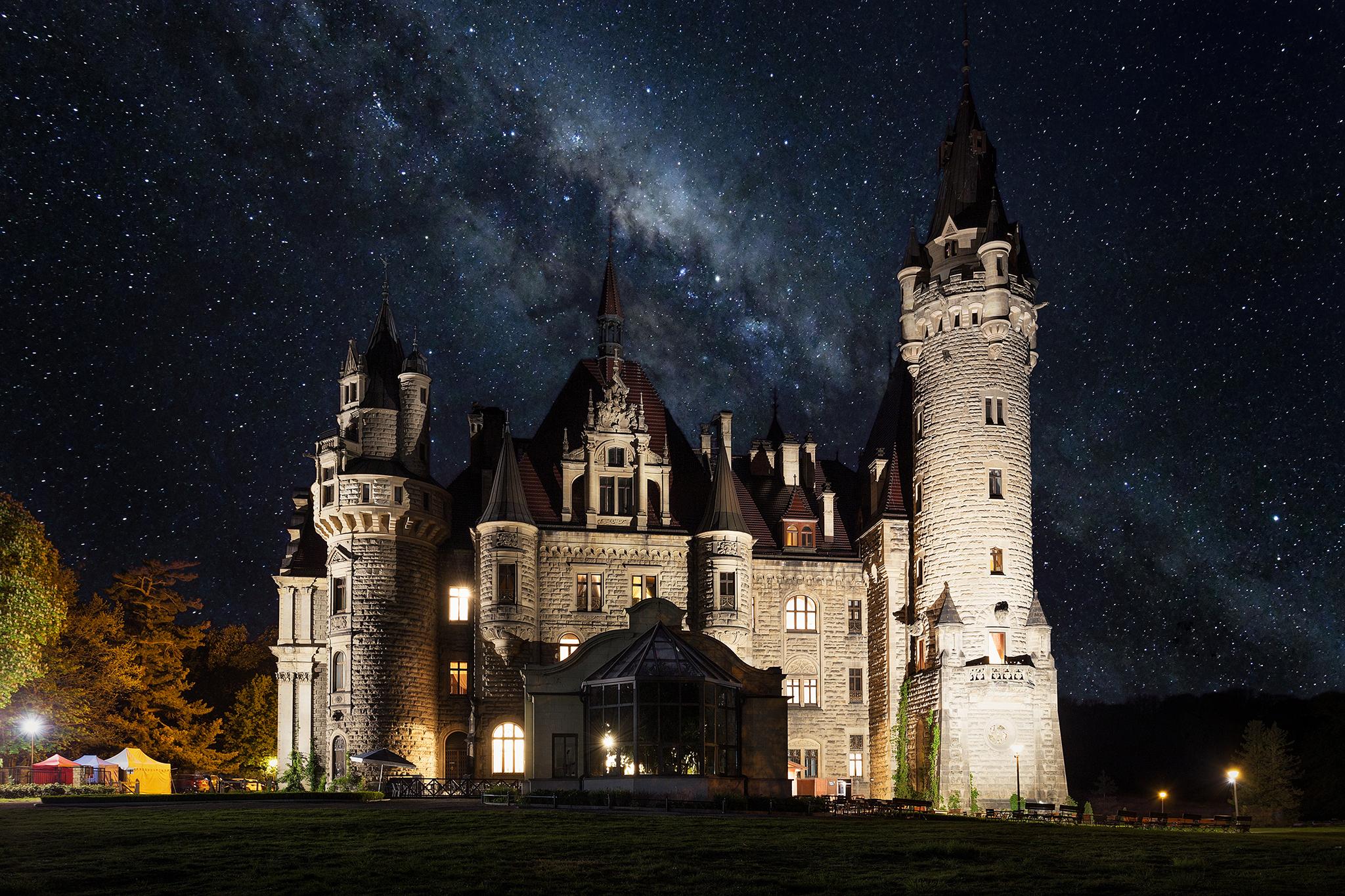 General 2048x1365 architecture castle medieval Pawel Olejniczak night Milky Way stars field lights Poland