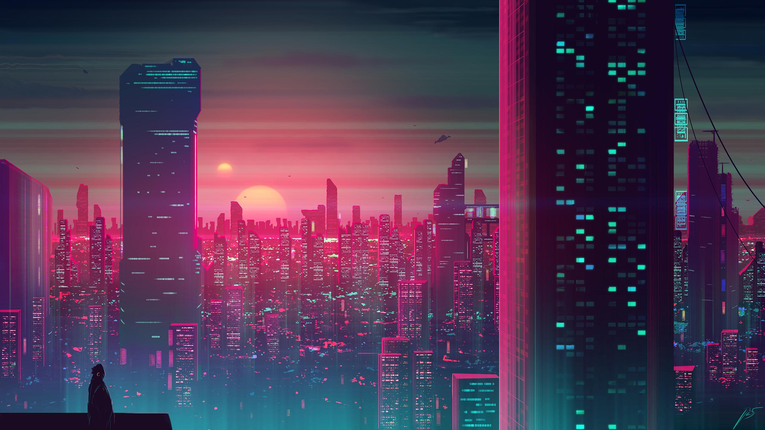 General 2560x1440 futuristic science fiction skyscraper JoeyJazz cityscape