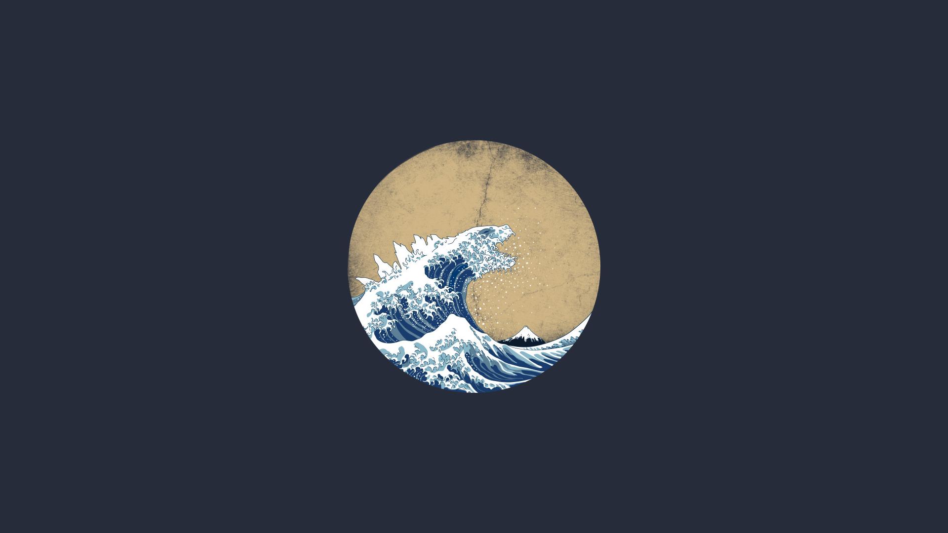 General 1920x1080 waves digital art artwork minimalism The Great Wave off Kanagawa Godzilla