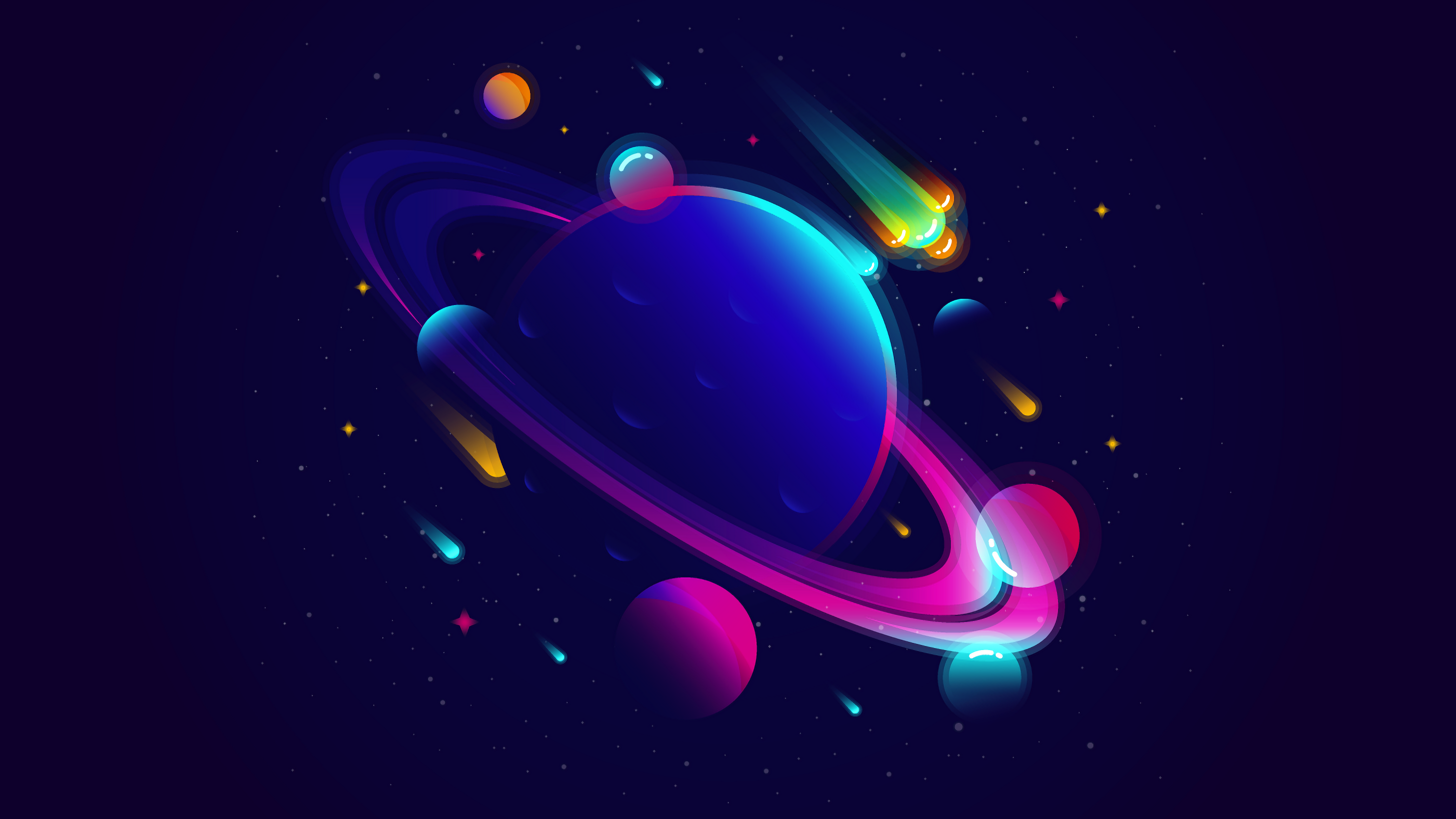 General 2802x1576 vector planet space meteors comet stars gradient digital art
