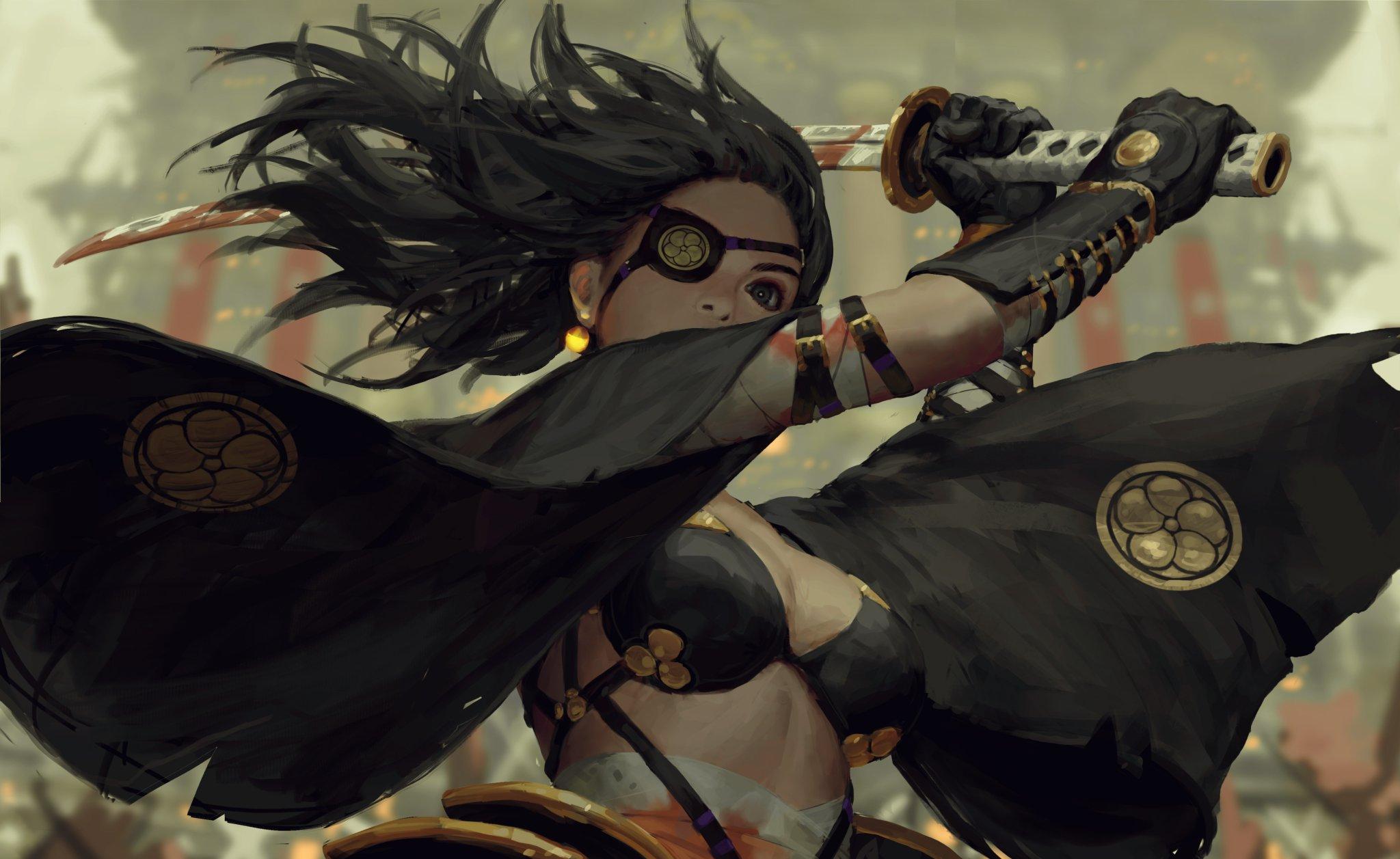 General 2048x1257 GUWEIZ samurai warrior katana fantasy girl cleavage bra eyepatches sword dark hair Z.W. Gu
