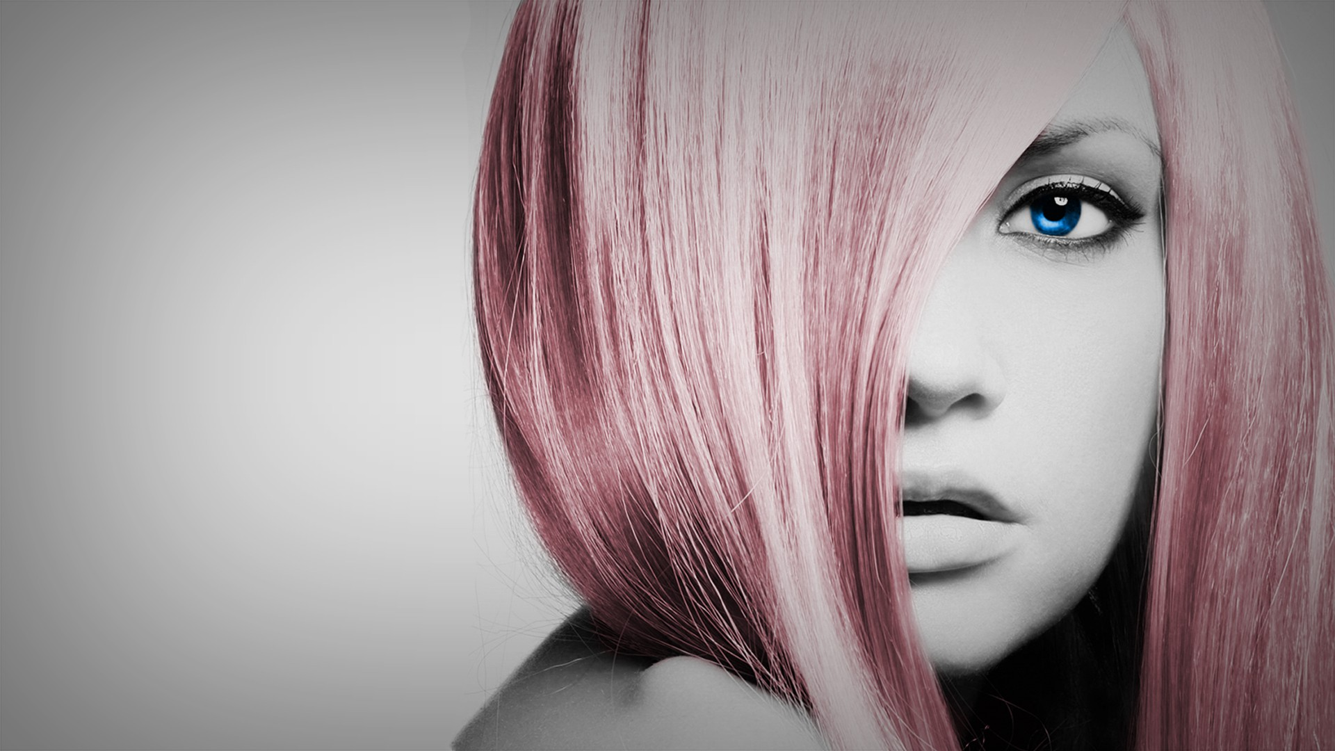 People 1920x1080 women eyes dyed hair selective coloring simple background