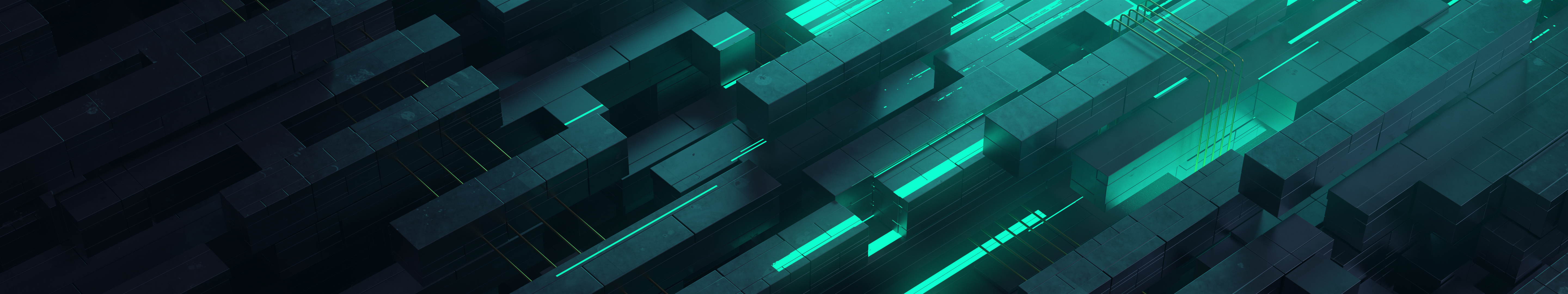 General 5760x1080 3D Abstract abstract neon glow teal digital art triple screen