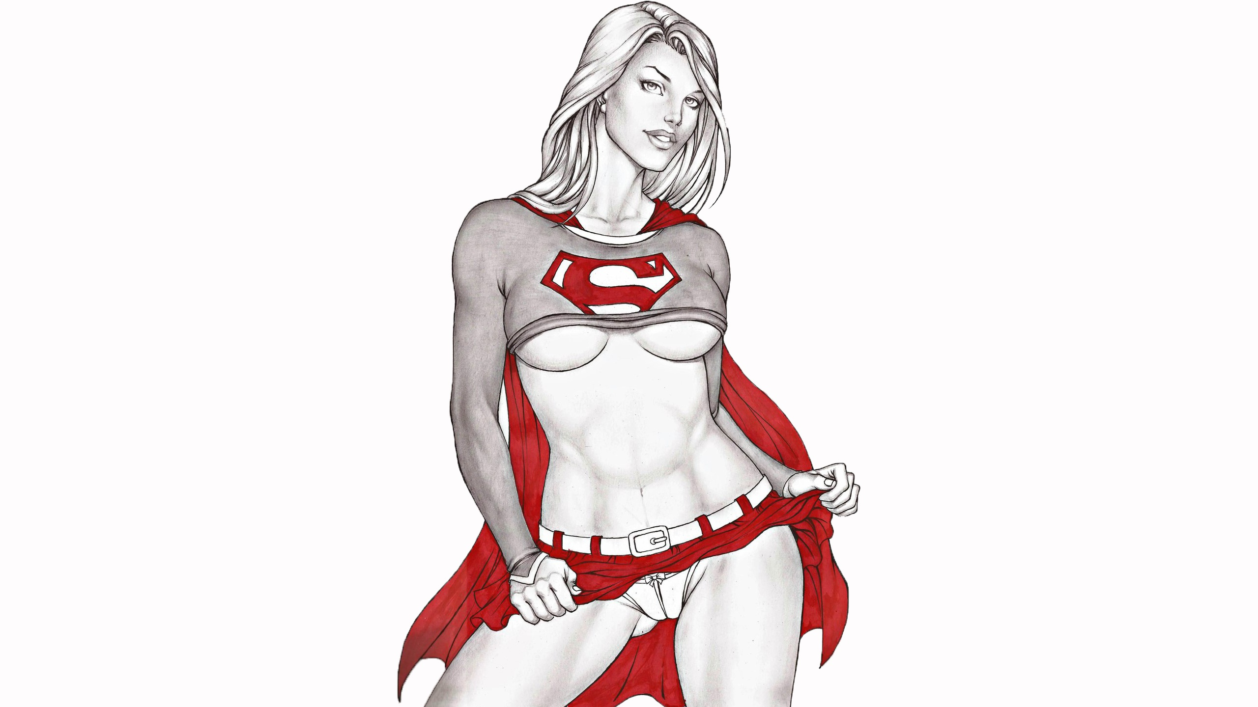 General 2560x1440 artwork Supergirl DC Comics DC Universe underboob drawing white background white selective coloring