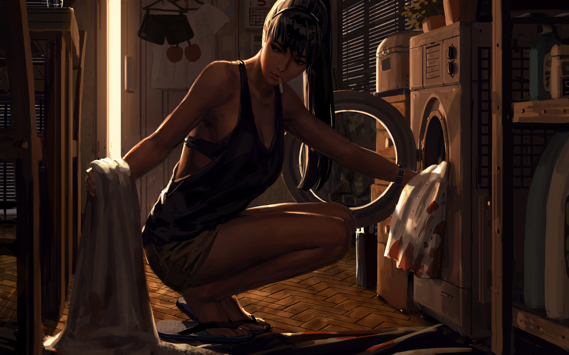 General 1920x1200 laundry women washing machine artwork ArtStation smoking cigarettes GUWEIZ black bras thighs blood long hair black hair ponytail cleavage 2D squatting
