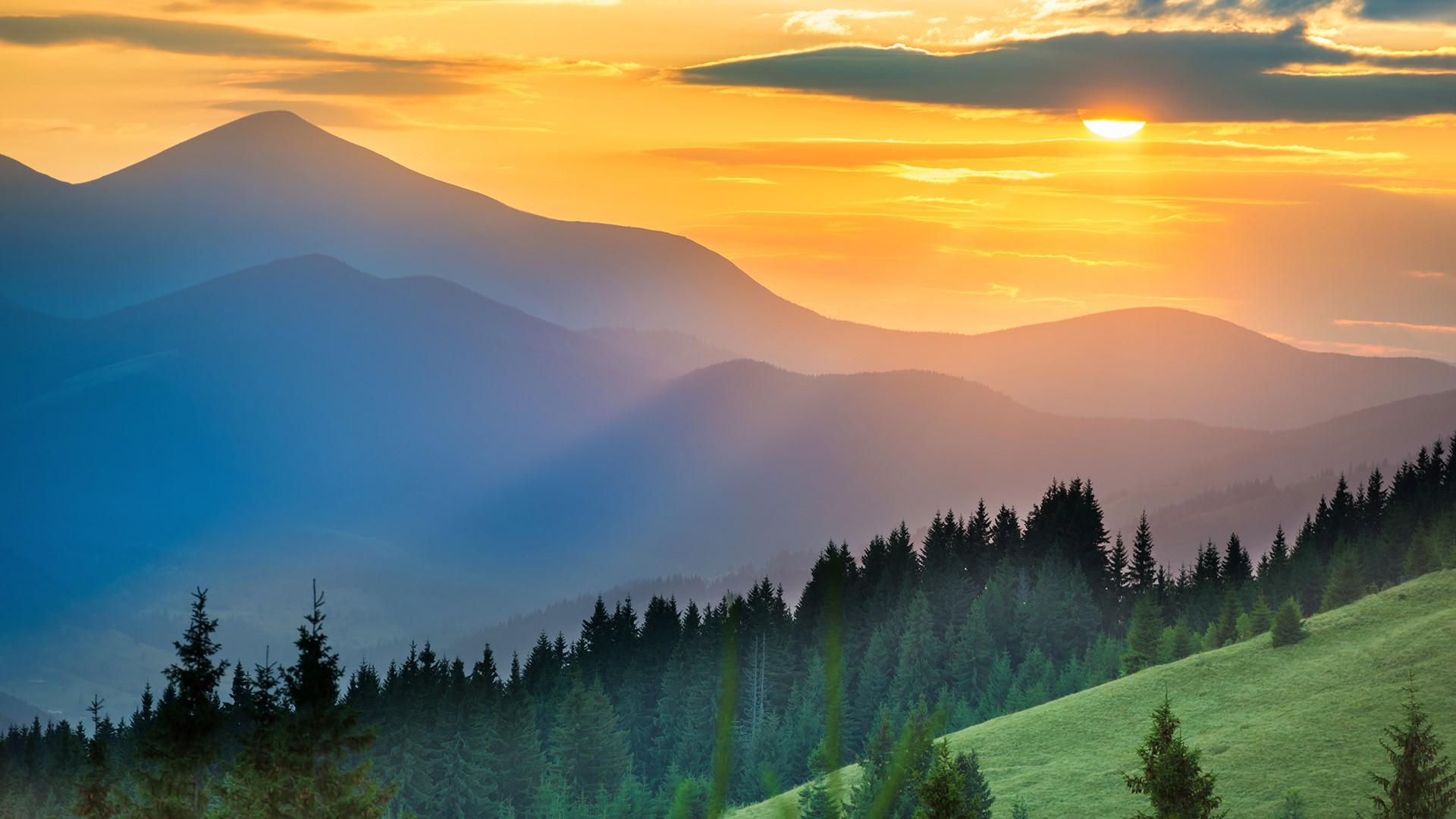 General 1920x1080 nature landscape trees forest grass mountains mist clouds sky Sun sunset