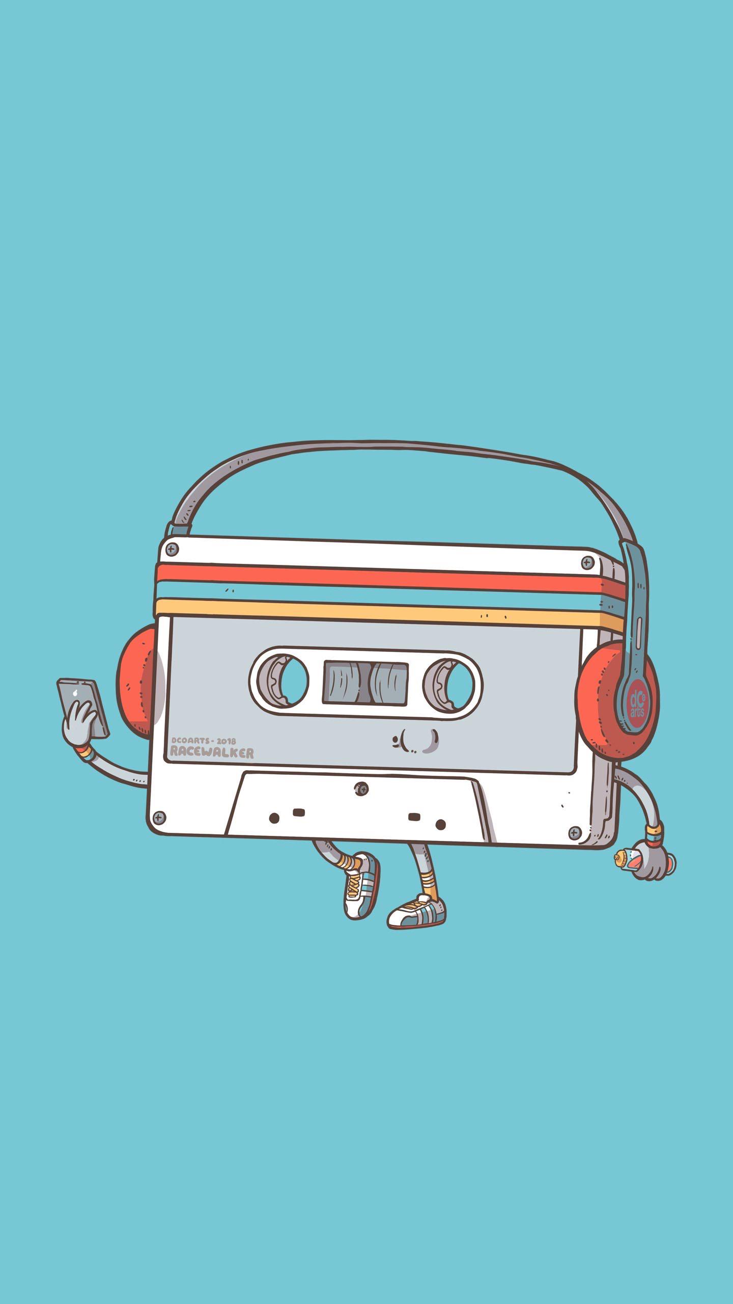 General 1440x2560 vertical digital art simple background smartphone headphones tape audio cassete music blue background