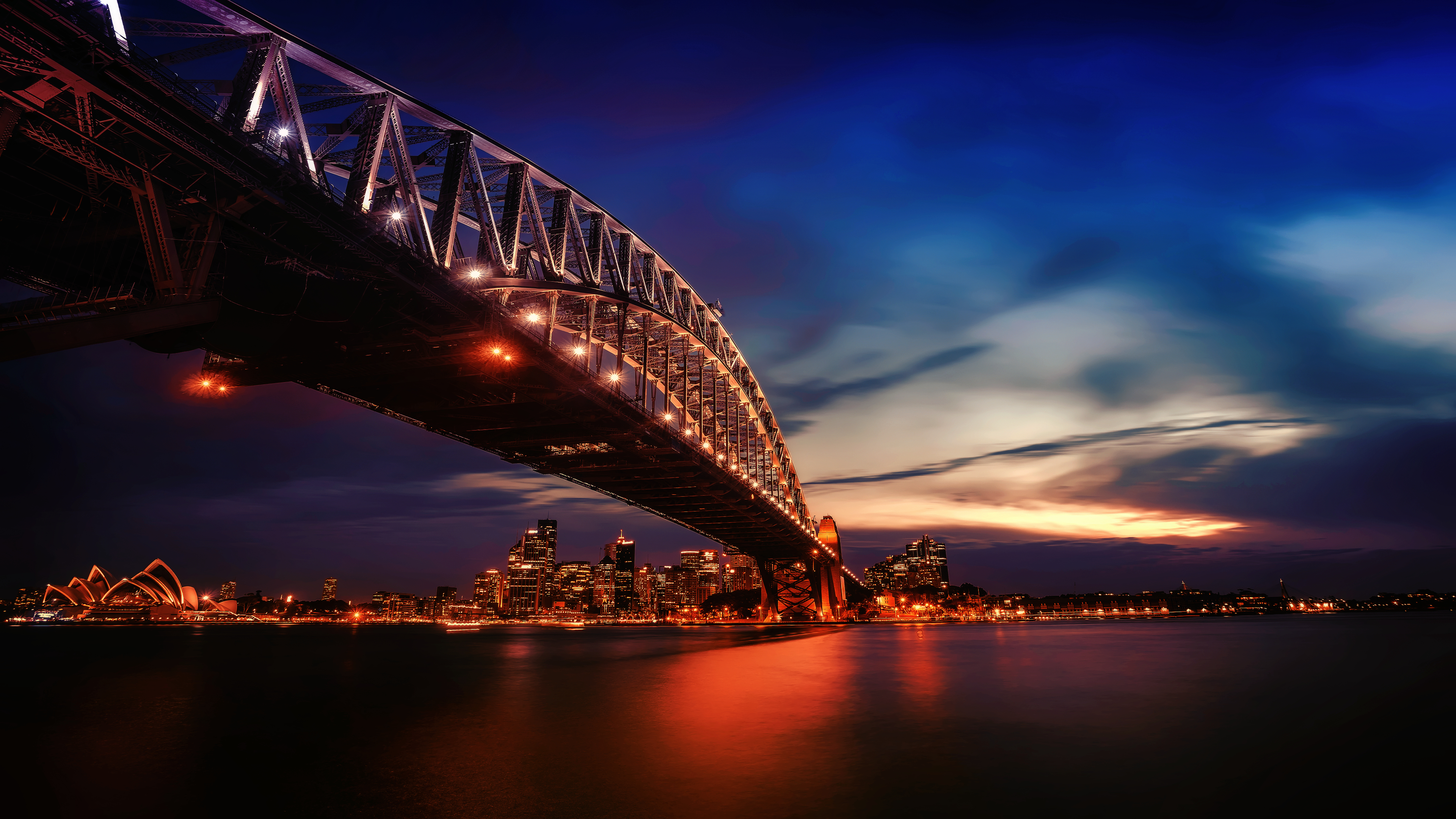General 3840x2160 cityscape city sunlight sunset landscape photography architecture water city lights clouds bridge Sydney Sydney Harbour sea