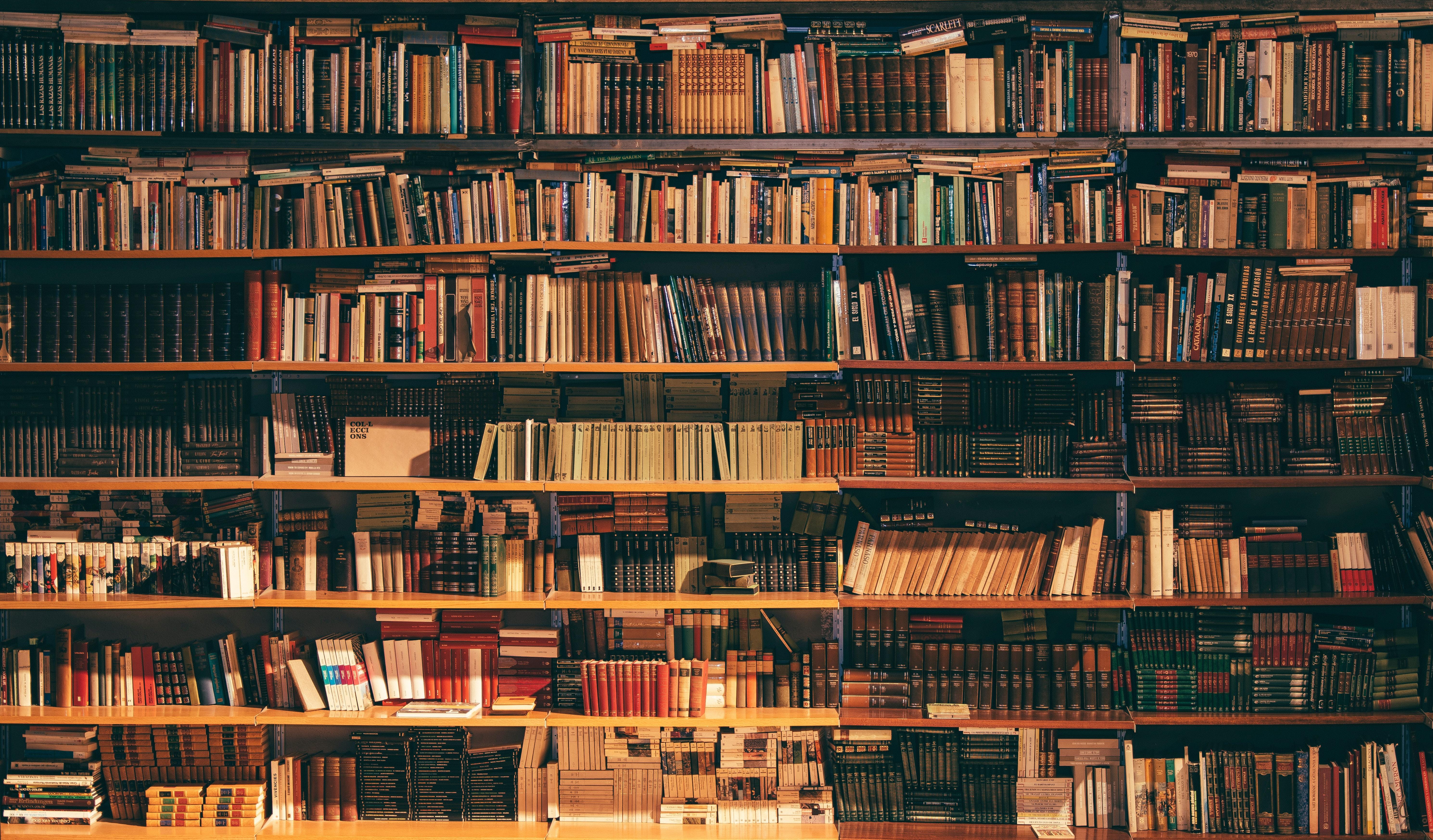 General 5957x3493 library university books book shelf bookshelves brown