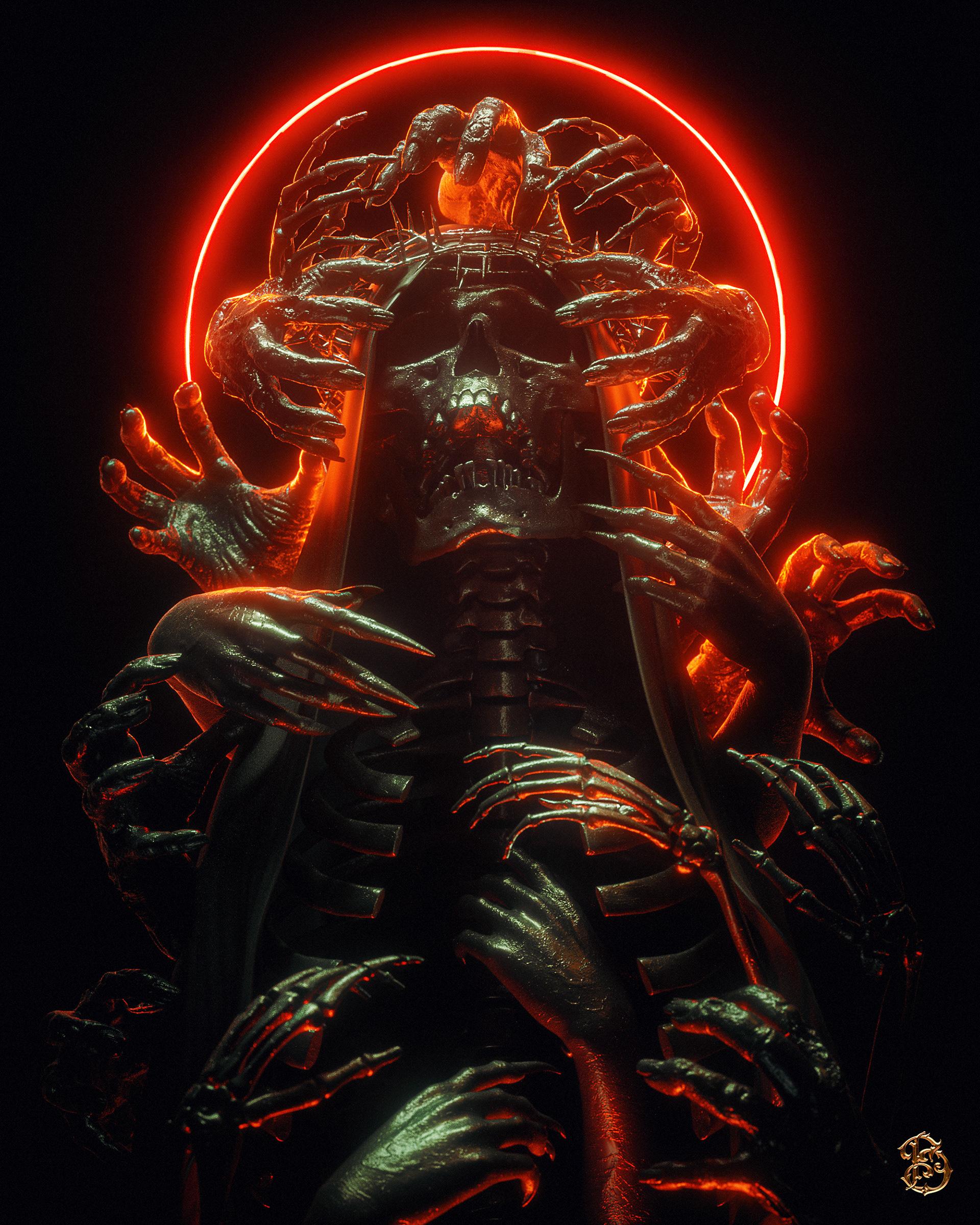 General 1920x2400 billelis skull black background dark 3D