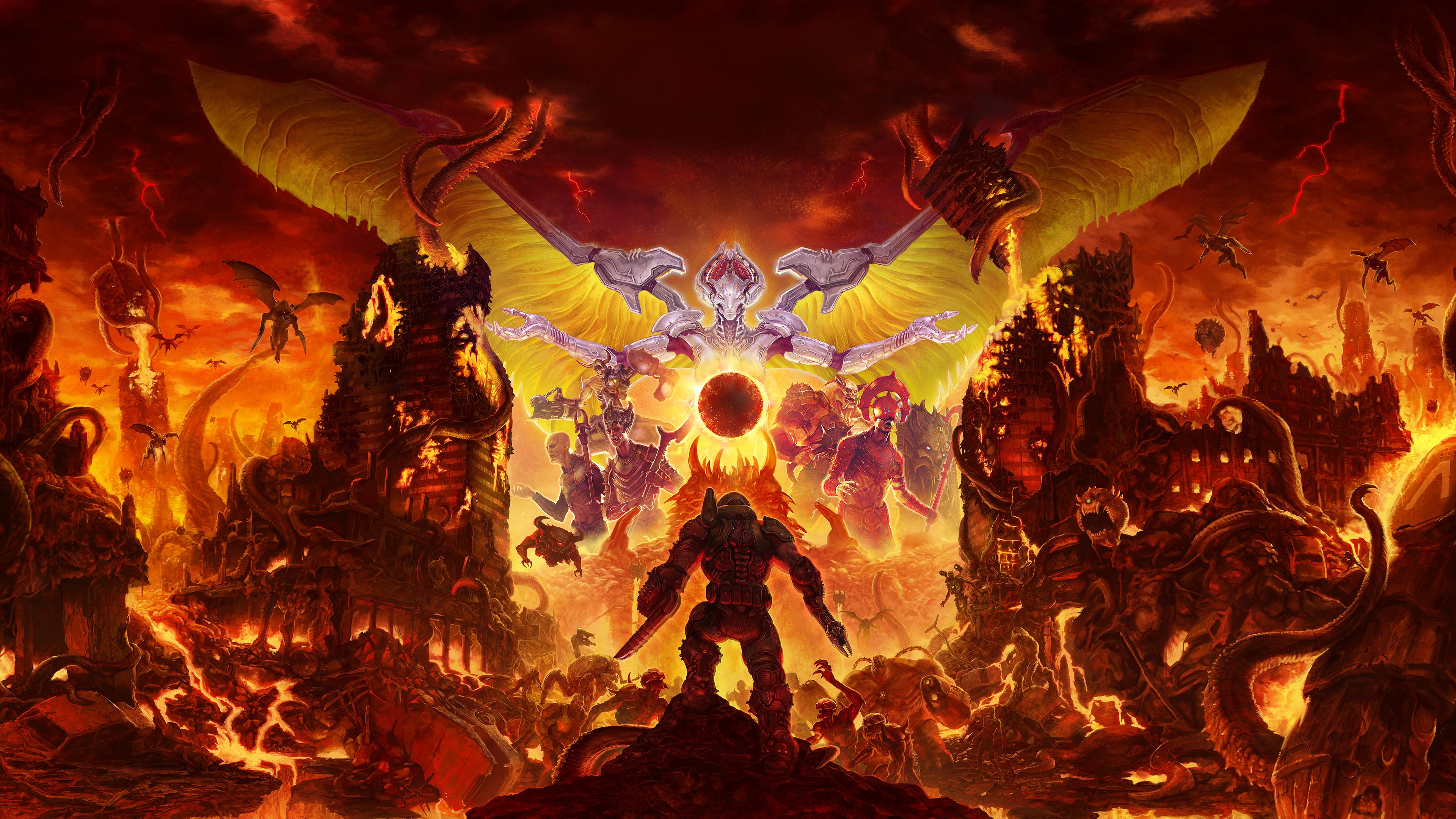 General 3840x2160 Doom (game) DOOM Eternal hell demon video games Bethesda Softworks Id Software artwork